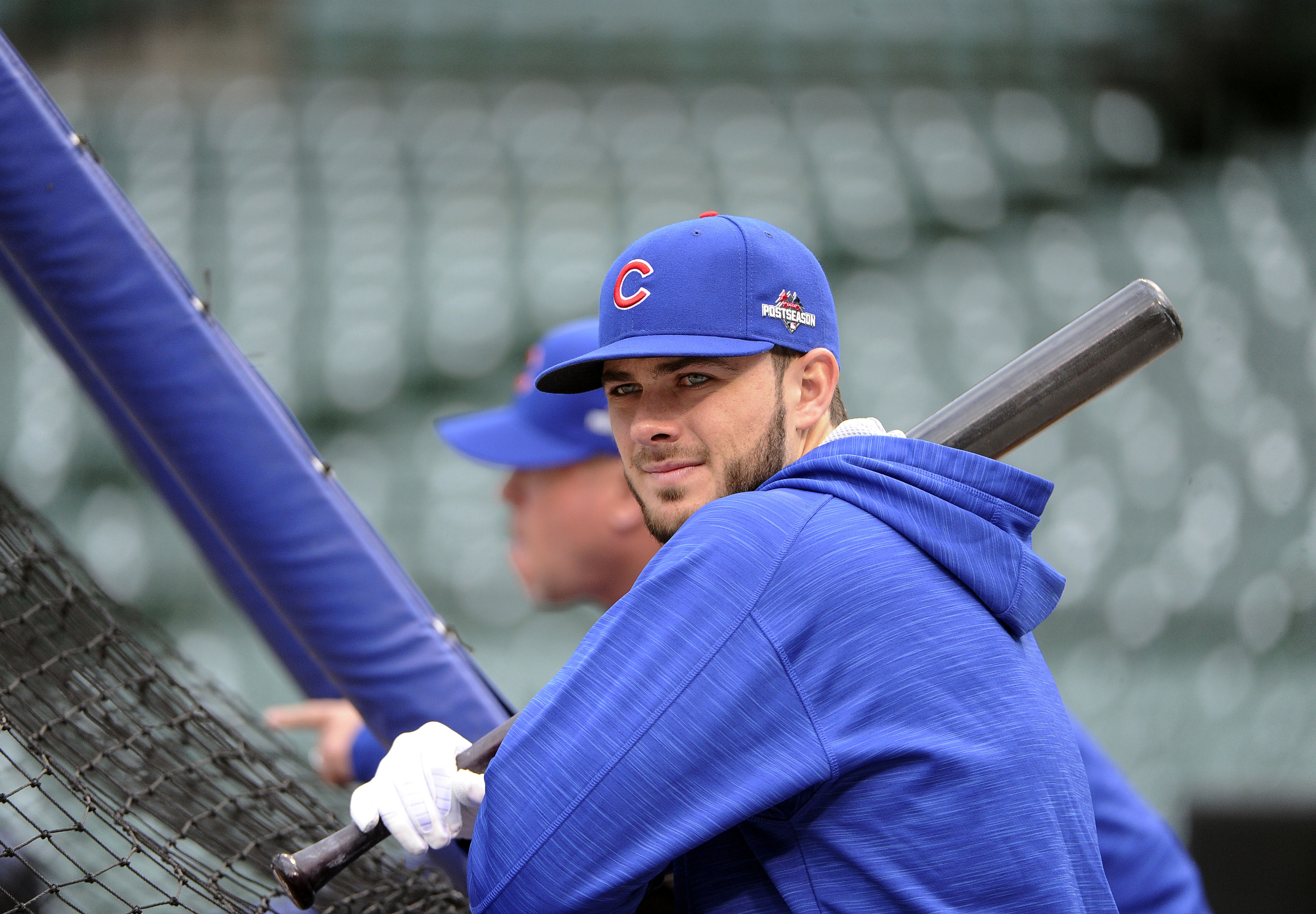 Chicago Cubs third baseman Kris Bryant waits to take batting practice during a workout in preparation for Game 1 of baseball's National League Championship Series in Chicago, Thursday, Oct. 15, 2015. (AP Photo/David Banks)
