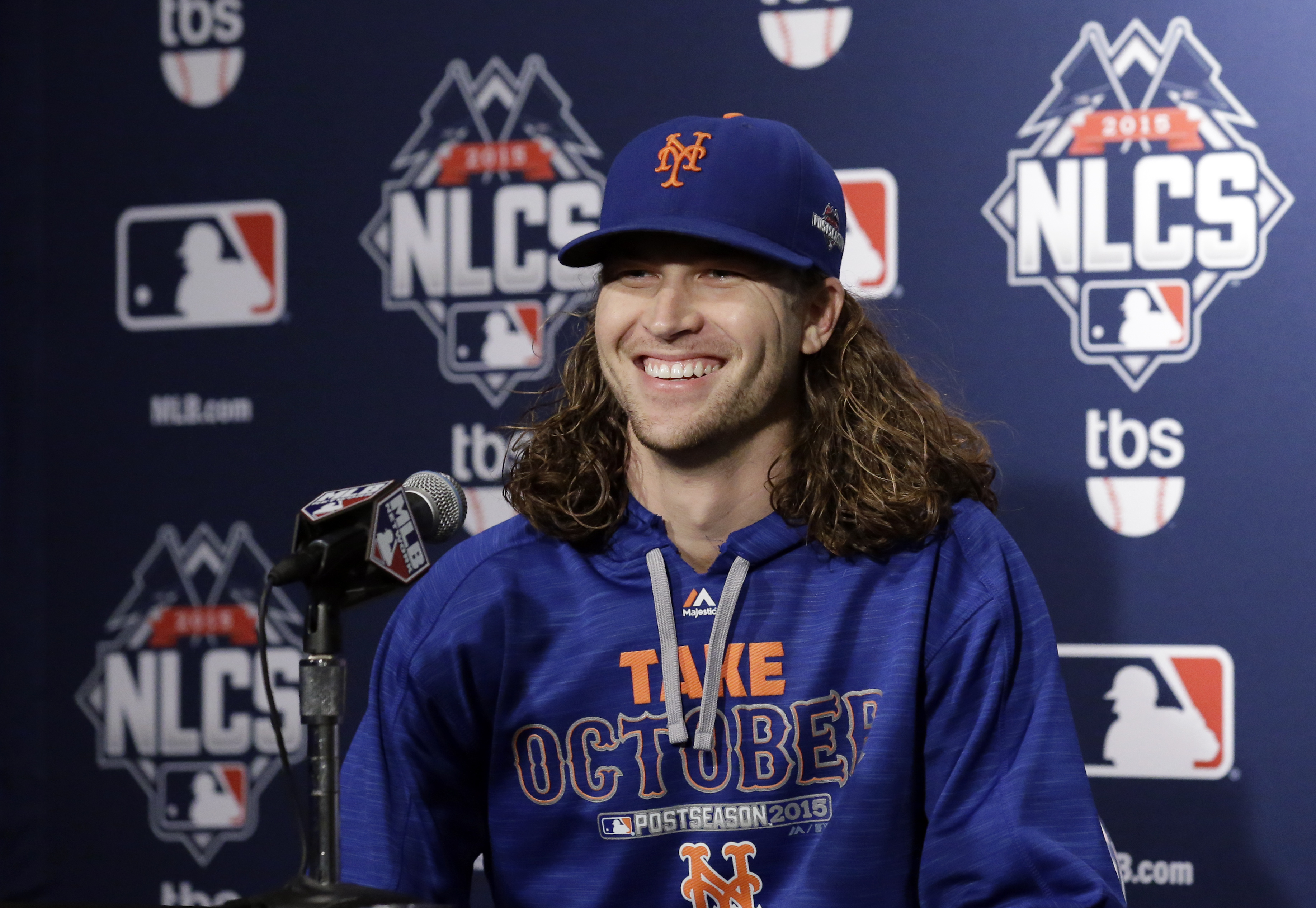 New York Mets pitcher Jacob deGrom talks at a news conference Monday, Oct. 19, 2015, during a team workout in preparation for Tuesday's Game 3 in baseball's National League Championship Series against the Chicago Cubs in Chicago. (AP Photo/Nam Y. Huh)