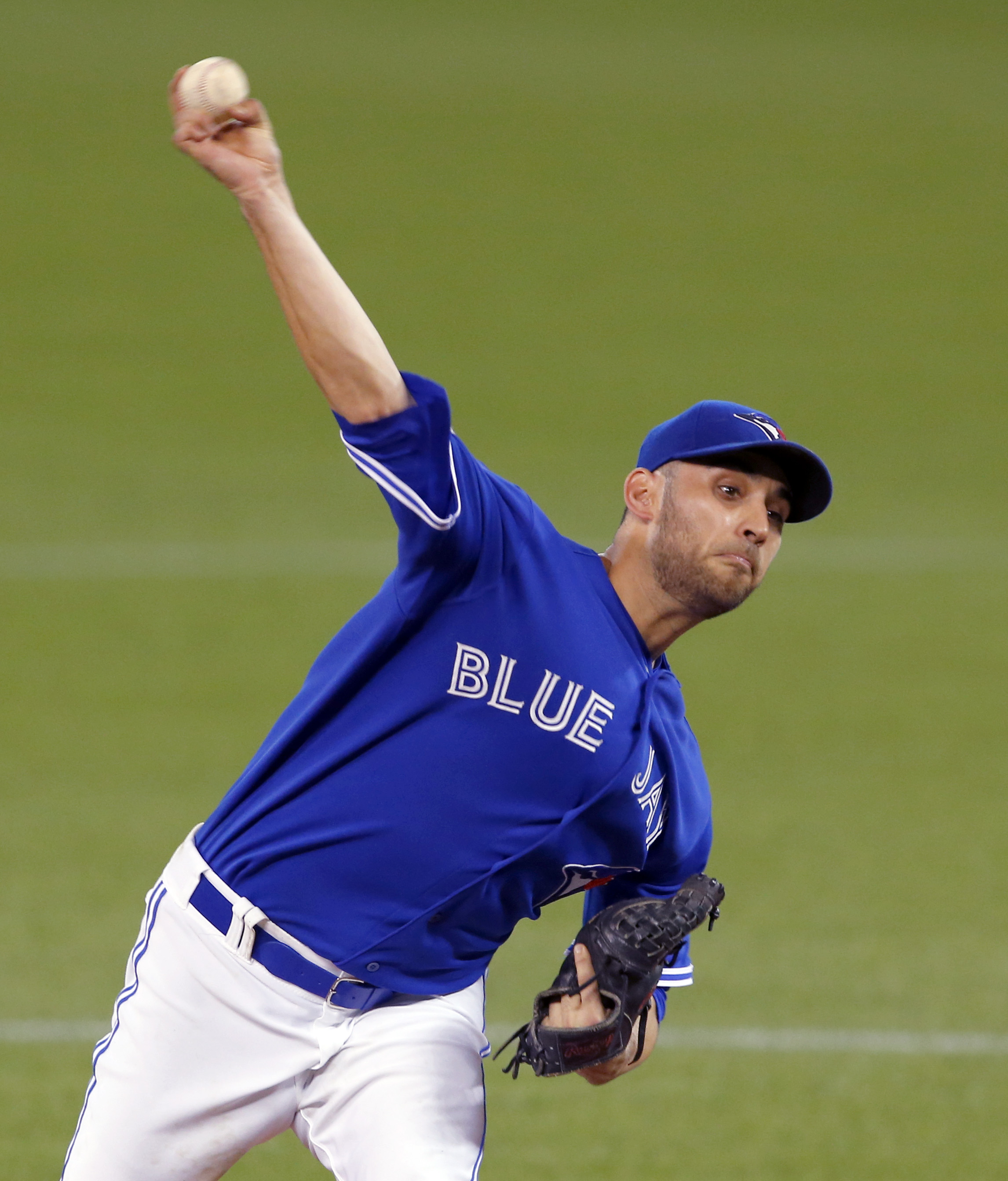 Toronto Blue Jays starting pitcher Marco Estrada throws against the Kansas City Royals during the eighth inning in Game 5 of baseball's American League Championship Series on Wednesday, Oct. 21, 2015, in Toronto. (AP Photo/Paul Sancya)