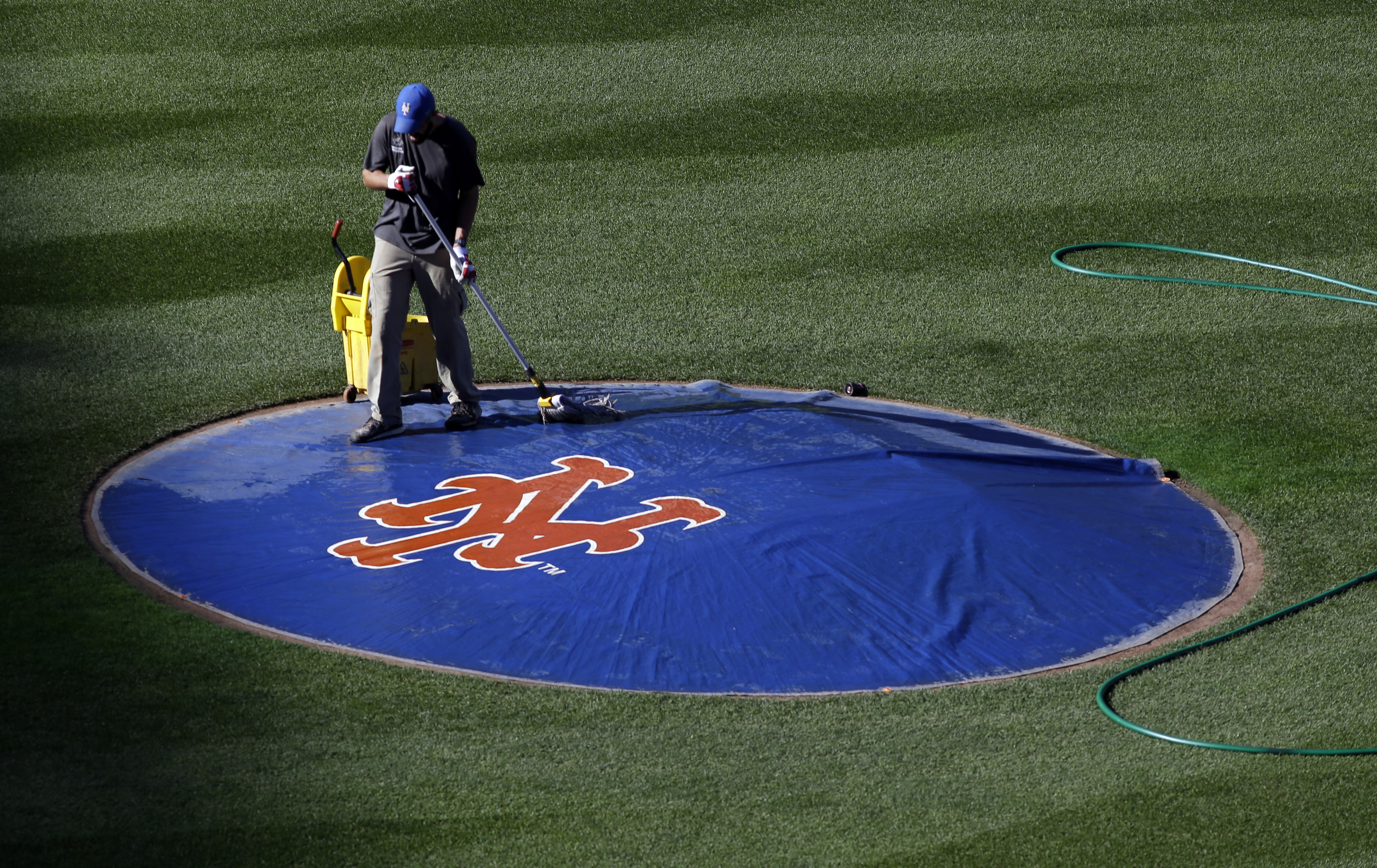 A grounds crew member mops off the tarp covering the pitchers mound before Game 3 of the Major League Baseball World Series between the Kansas City Royals and the New York Mets Friday, Oct. 30, 2015, in New York. (AP Photo/David J. Phillip)