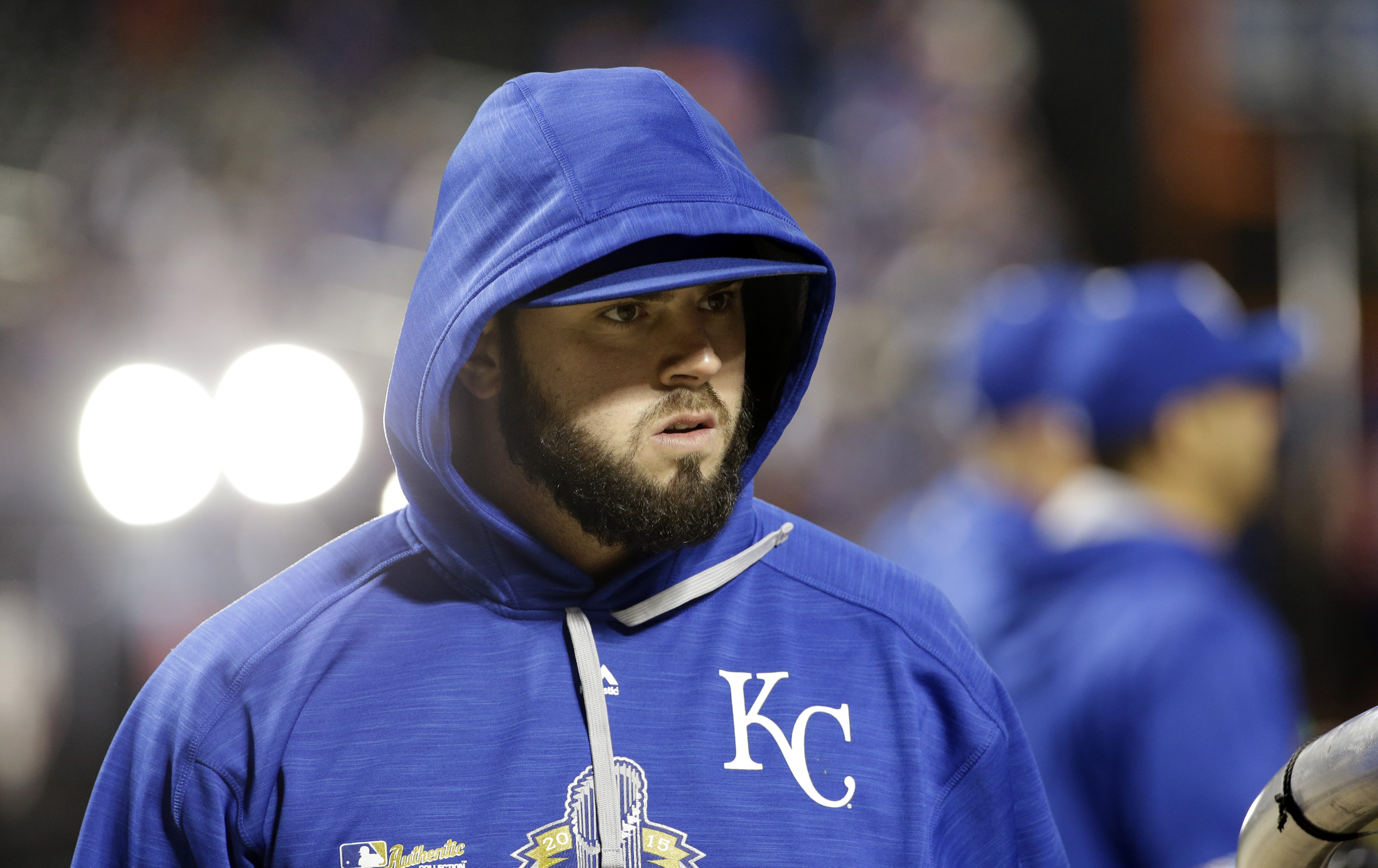 Kansas City Royals third baseman Mike Moustakas arrives for batting practice before Game 3 of the Major League Baseball World Series against the New York Mets Friday, Oct. 30, 2015, in New York. (AP Photo/David J. Phillip)