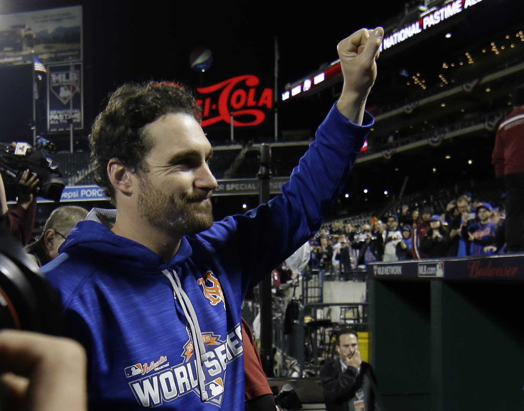 New York Mets' Daniel Murphy waves to fans after Game 5 of the Major League Baseball World Series against the Kansas City Royals Monday, Nov. 2, 2015, in New York. The Royals won 7-2 to win the series. (AP Photo/Matt Slocum)