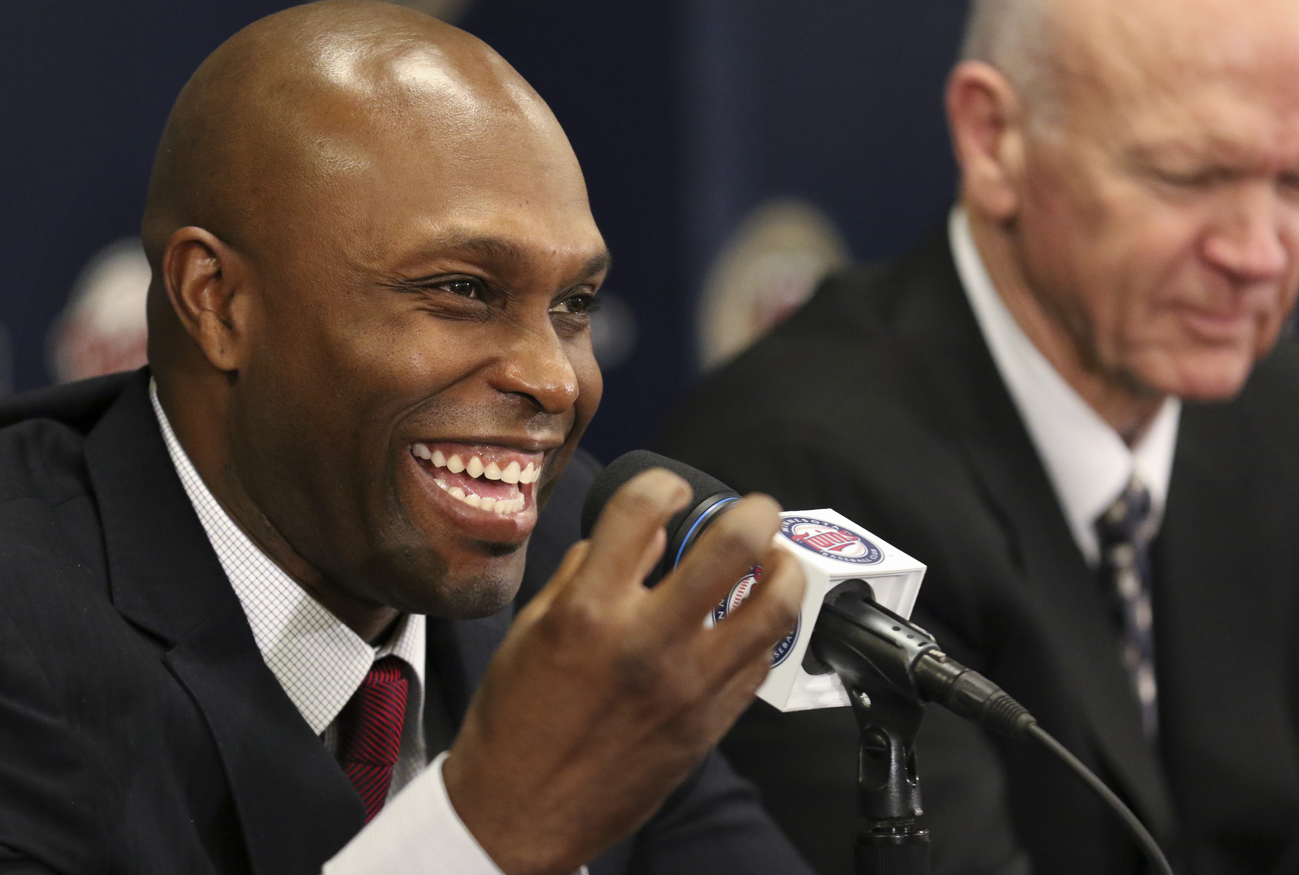 Torii Hunter smiles at a news conference in Minneapolis, Thursday, Nov. 5, 2015. Hunter has declared an end to his playing career of 17-plus major league seasons, including more than a decade with the Minnesota Twins, but he has a plan to stay in the game