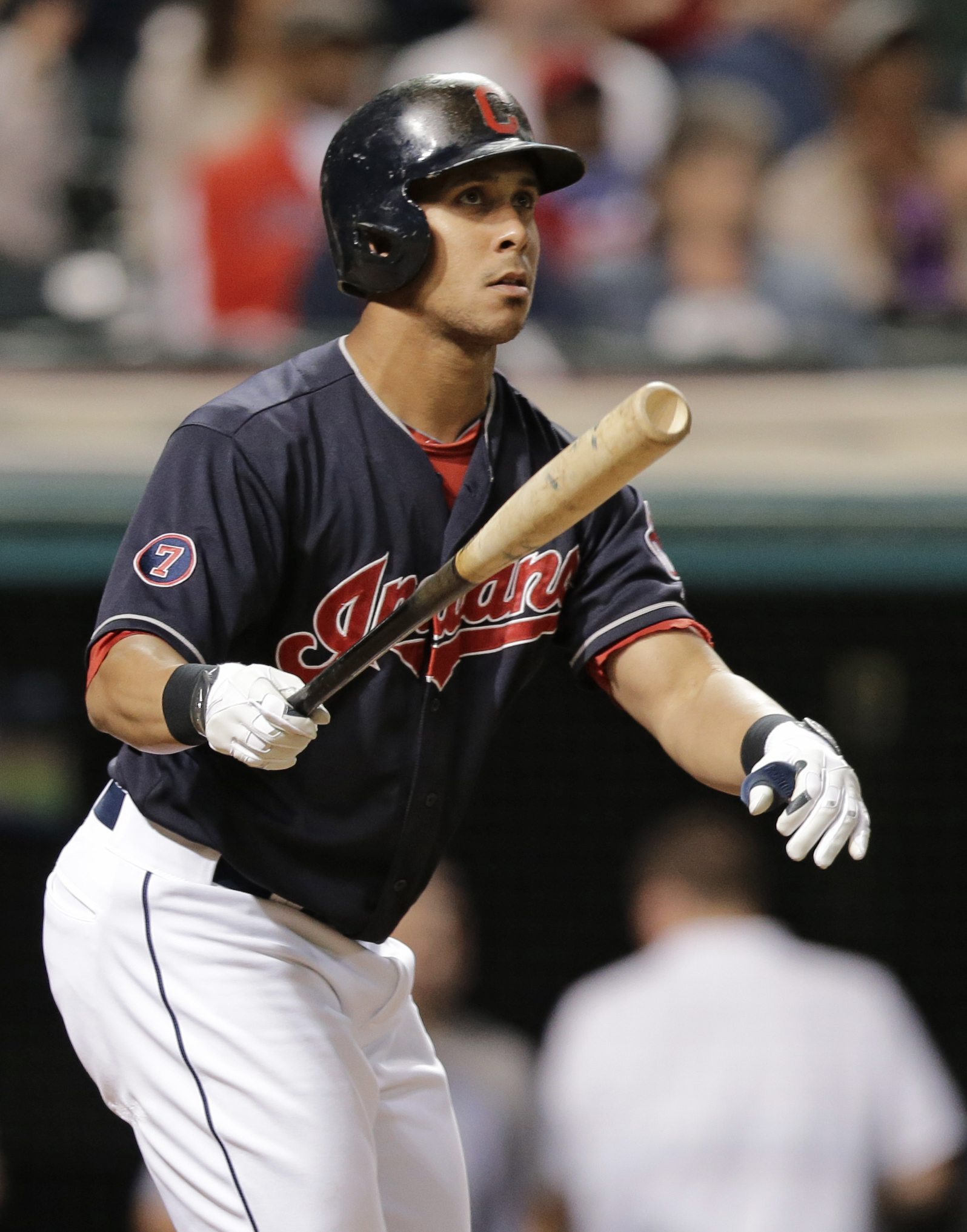 FILE - In this Sept. 10, 2015, file photo, Cleveland Indians' Michael Brantley watches after hitting a two-run home run off Detroit Tigers relief pitcher Blaine Hardy in the eighth inning of a baseball game,  in Cleveland. Brantley could miss the start of