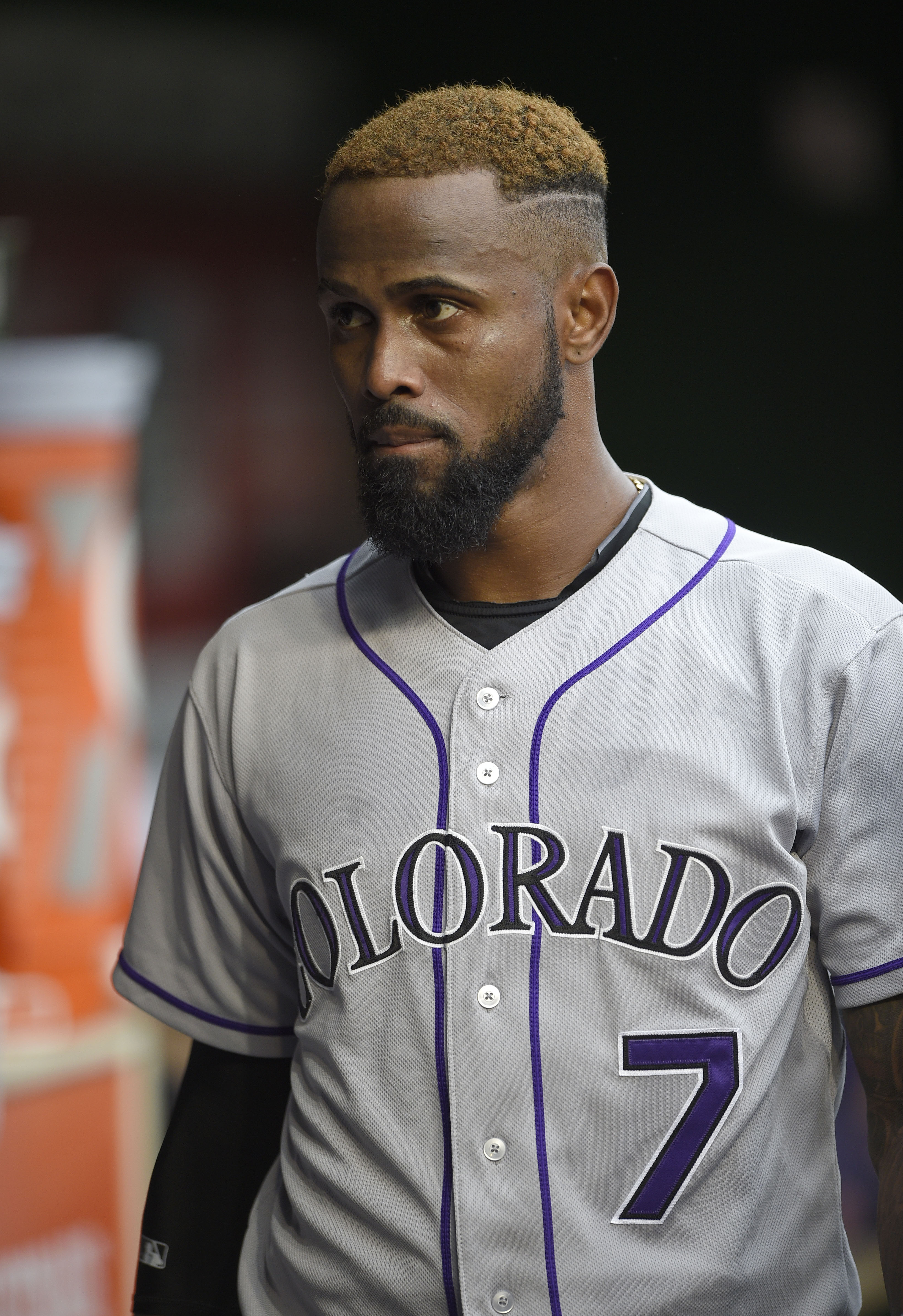 FILE - In this Aug. 7, 2015, file photo, Colorado Rockies shortstop Jose Reyes (7) looks on before a baseball game against the Washington Nationals, in Washington. Reyes was arrested after an argument with his wife turned physical at the Four Seasons Reso