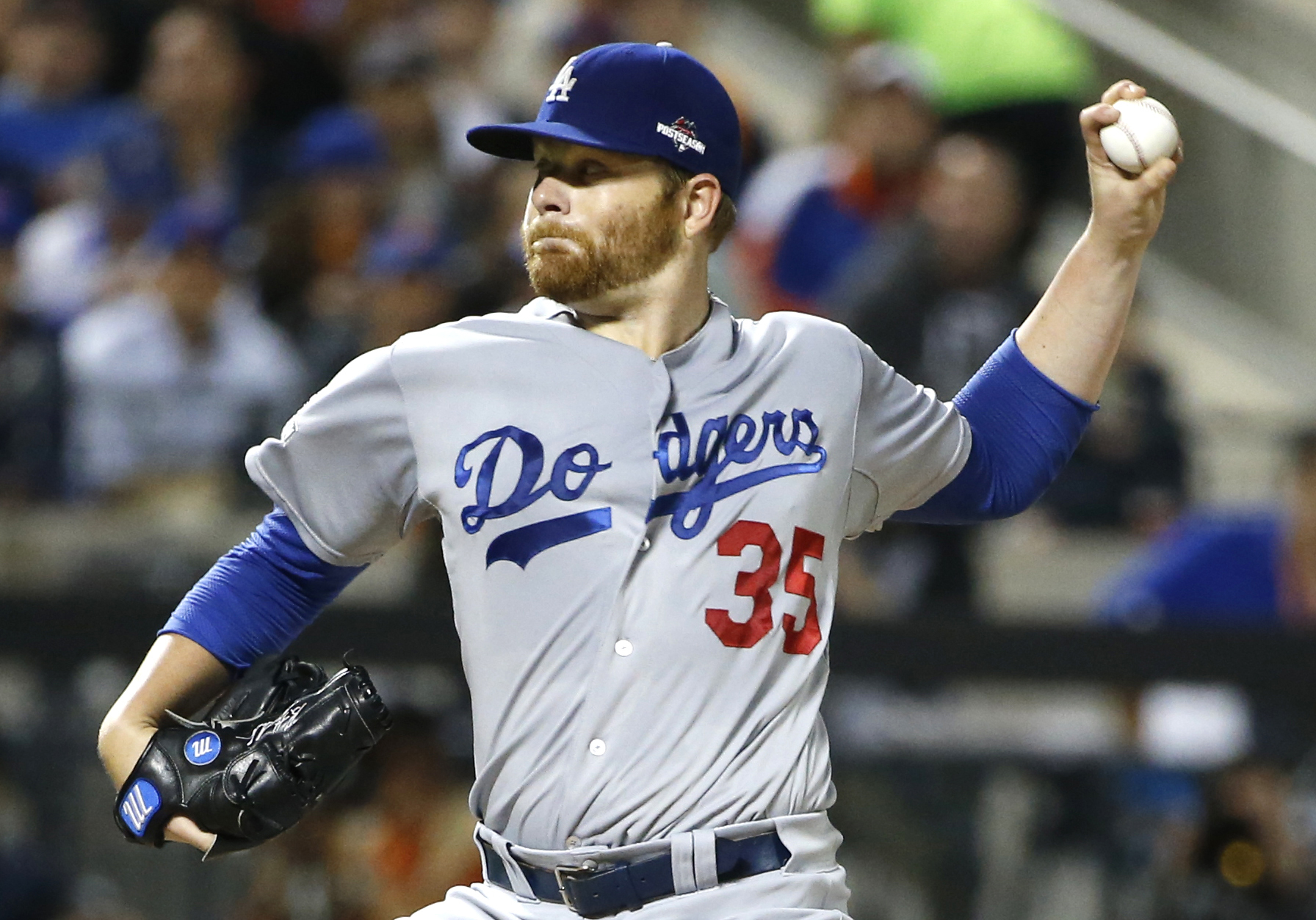FILE - In this Oct. 12, 2015, file photo, Los Angeles Dodgers starting pitcher Brett Anderson delivers in the first inning during baseball's Game 3 of the National League Division Series against the New York Mets in New York. Anderson, Houston outfielder