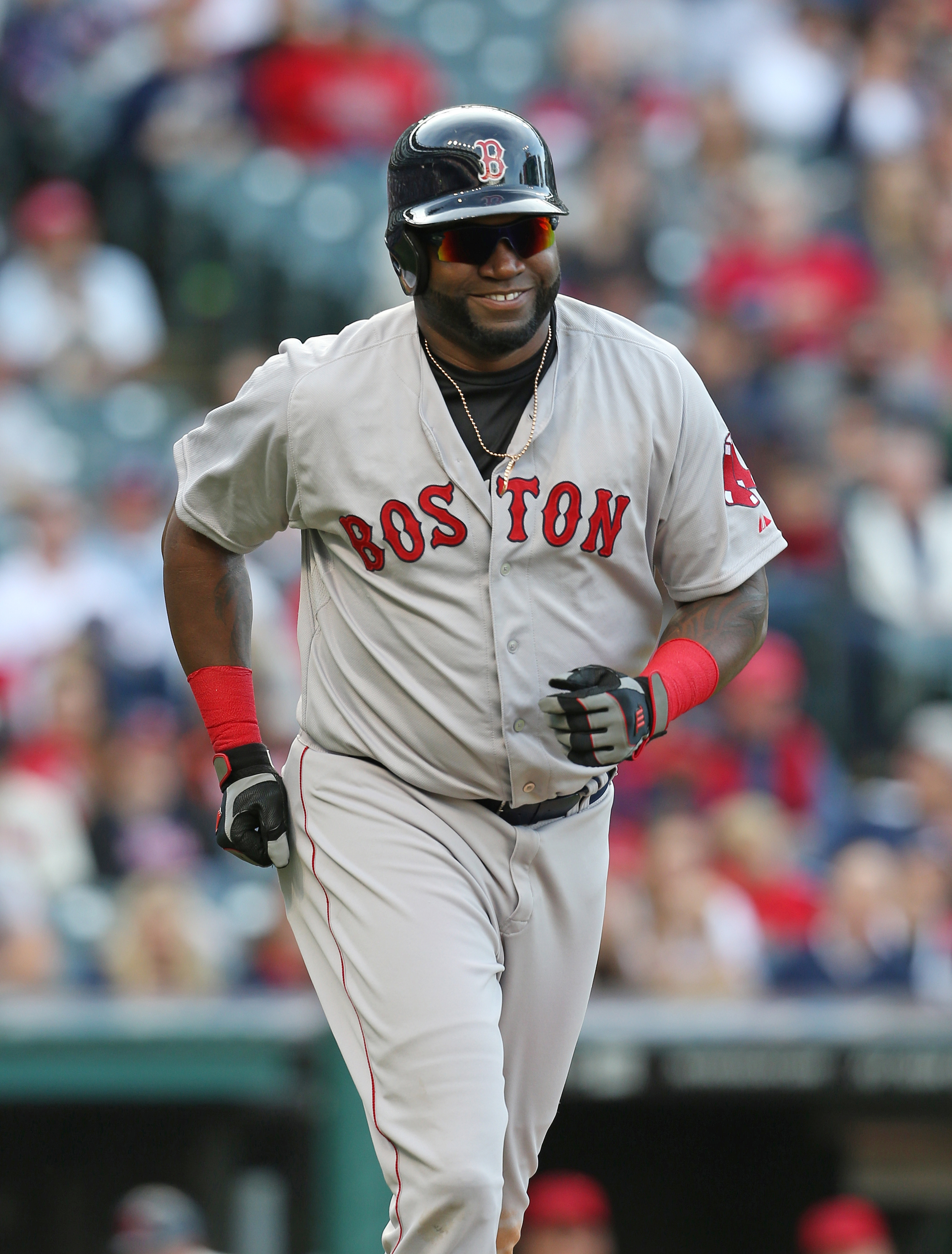 Boston Red Sox's David Ortiz against the Cleveland Indians during the sixth inning of a baseball game, Sunday, Oct. 4, 2015, in Cleveland. (AP Photo/Ron Schwane)