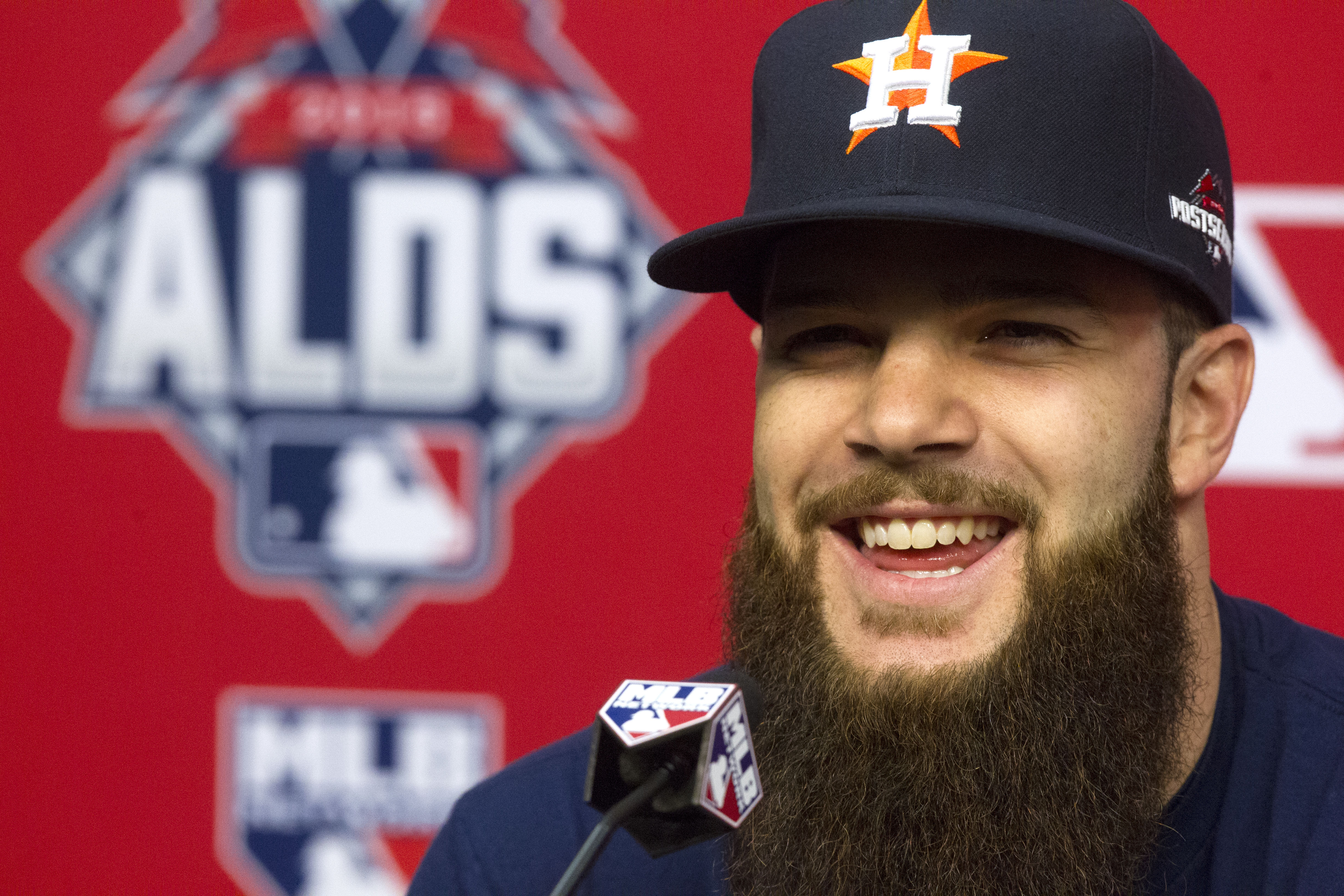 Houston Astros pitcher Dallas Keuchel speaks during a news conference for baseball's American League Division Series, Saturday, Oct. 10, 2015, in Houston. The Astros host the Kansas City Royals in Game 3 on Sunday. The best-of-five games series is tied 1-