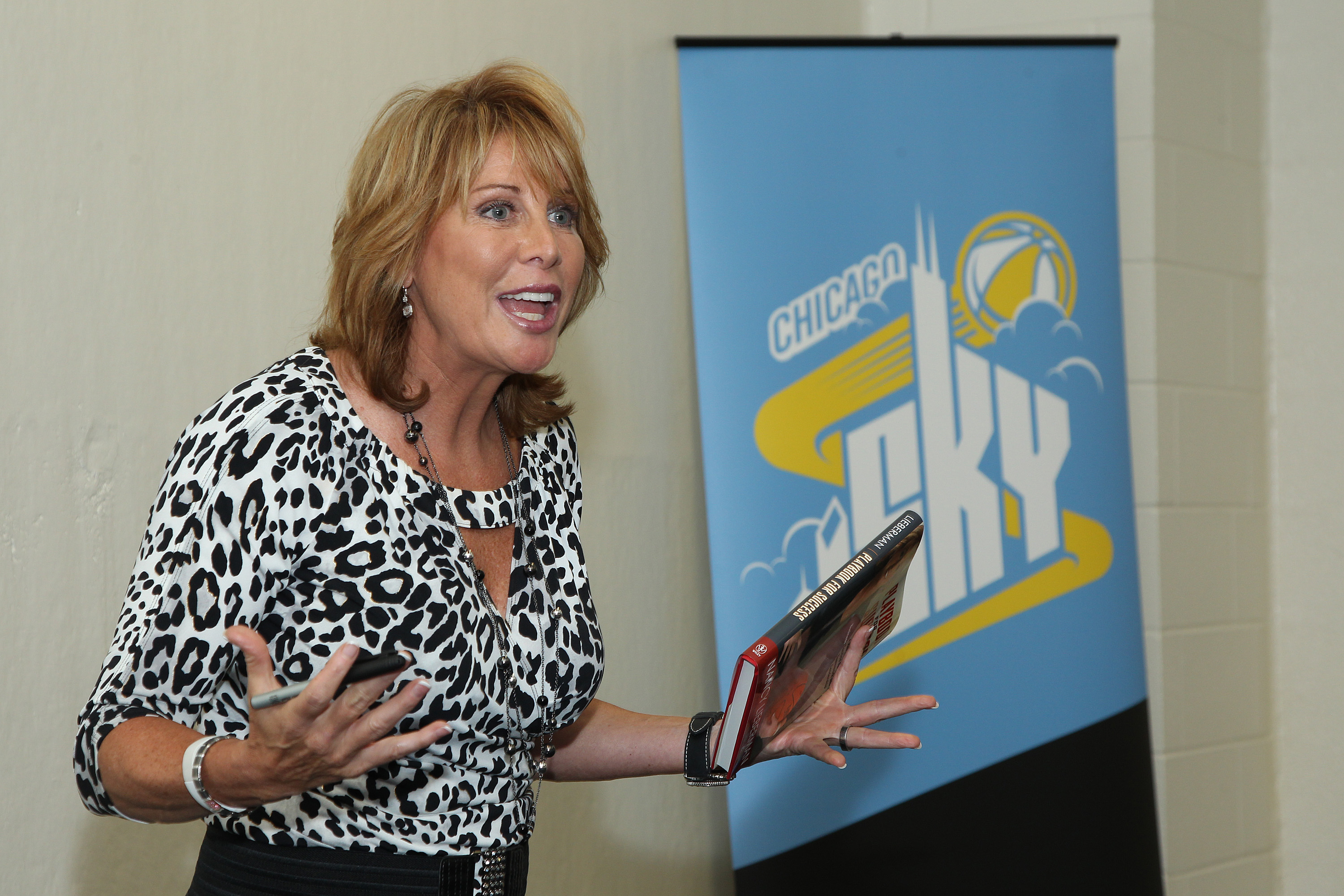 ROSEMONT, IL - JULY 26: Nancy Lieberman, Women's Hall of Famer  and head coach of the NBA Development League Texas Legends addresses attendees of special Chicago Sky pre game event prior to the start of the WNBA game against the Connecticut Sun on July 26