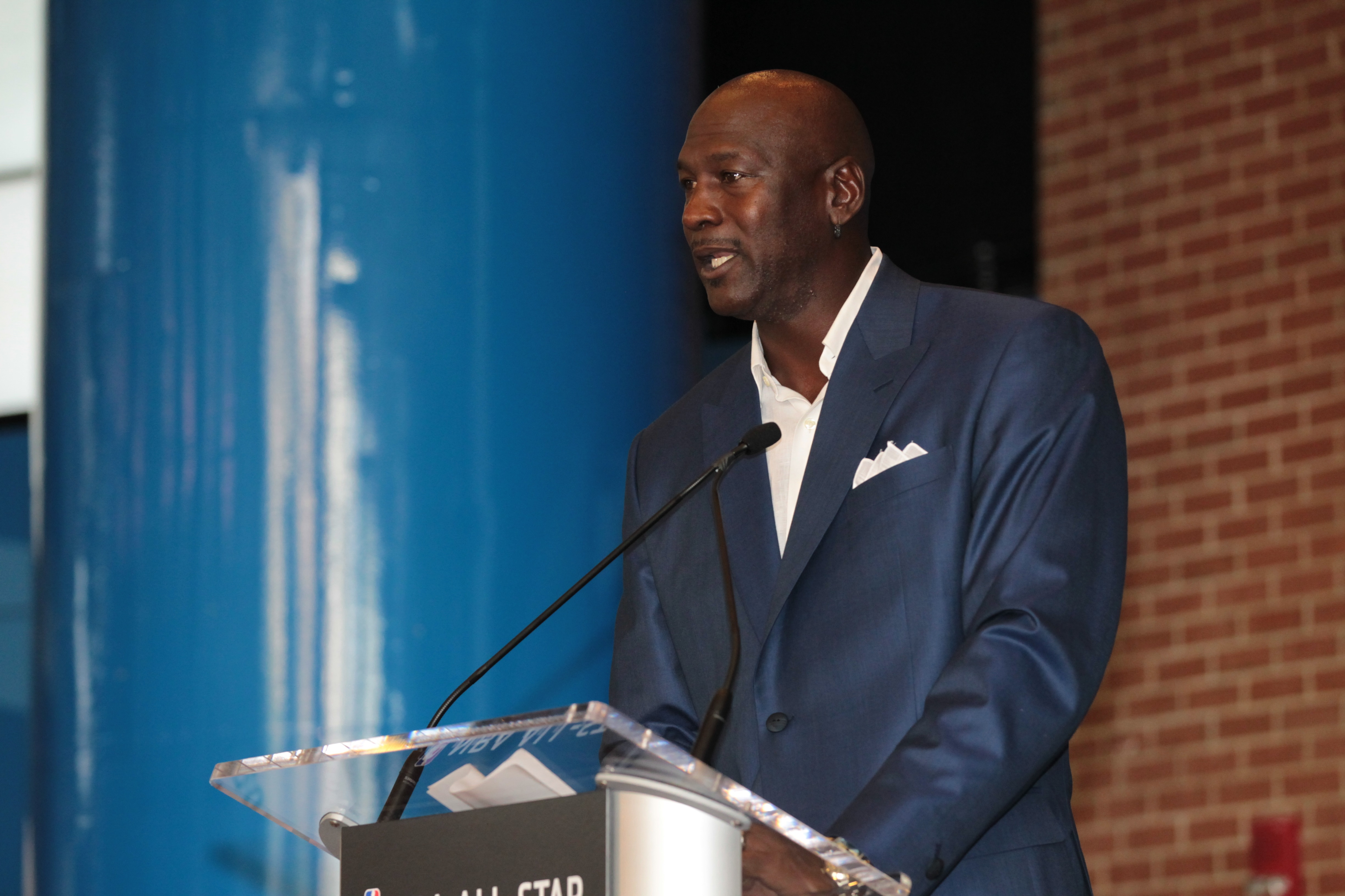CHARLOTTE, NC - JUNE 23:  Michael Jordan owner of the Charlotte Hornets announces the 2017 All-Star game at the Time Warner Cable Arena on June 23, 2015 in Charlotte, North Carolina. (Photo by Kent Smith/NBAE via Getty Images)