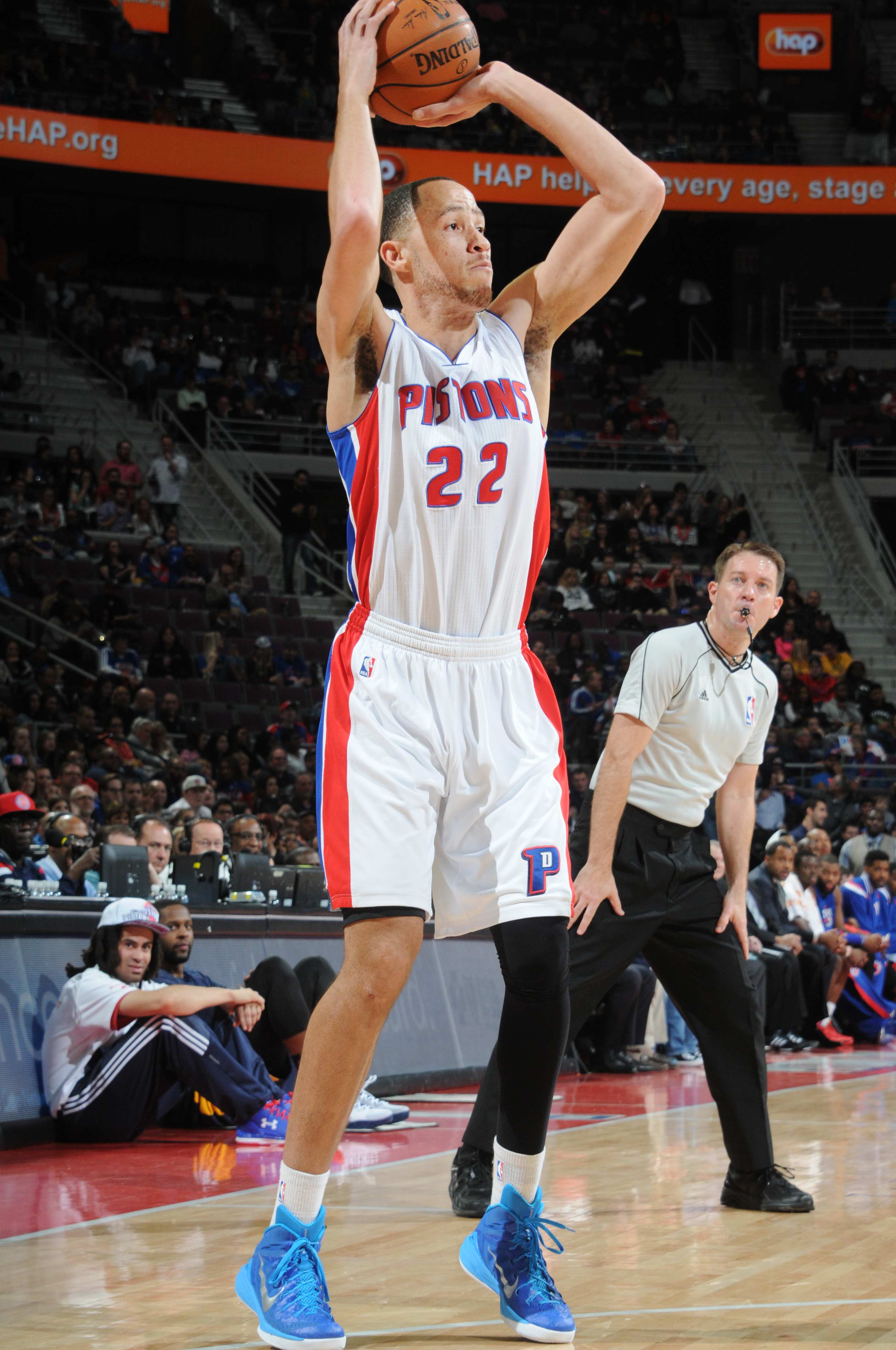 DETROIT, MI - APRIL 10: Tayshaun Prince #22 of the Detroit Pistons shoots against the Indiana Pacers during the game on April 10, 2015 at The Palace of Auburn in Detroit, Michigan. (Photo by D. Williams/Einstein/NBAE via Getty Images)
