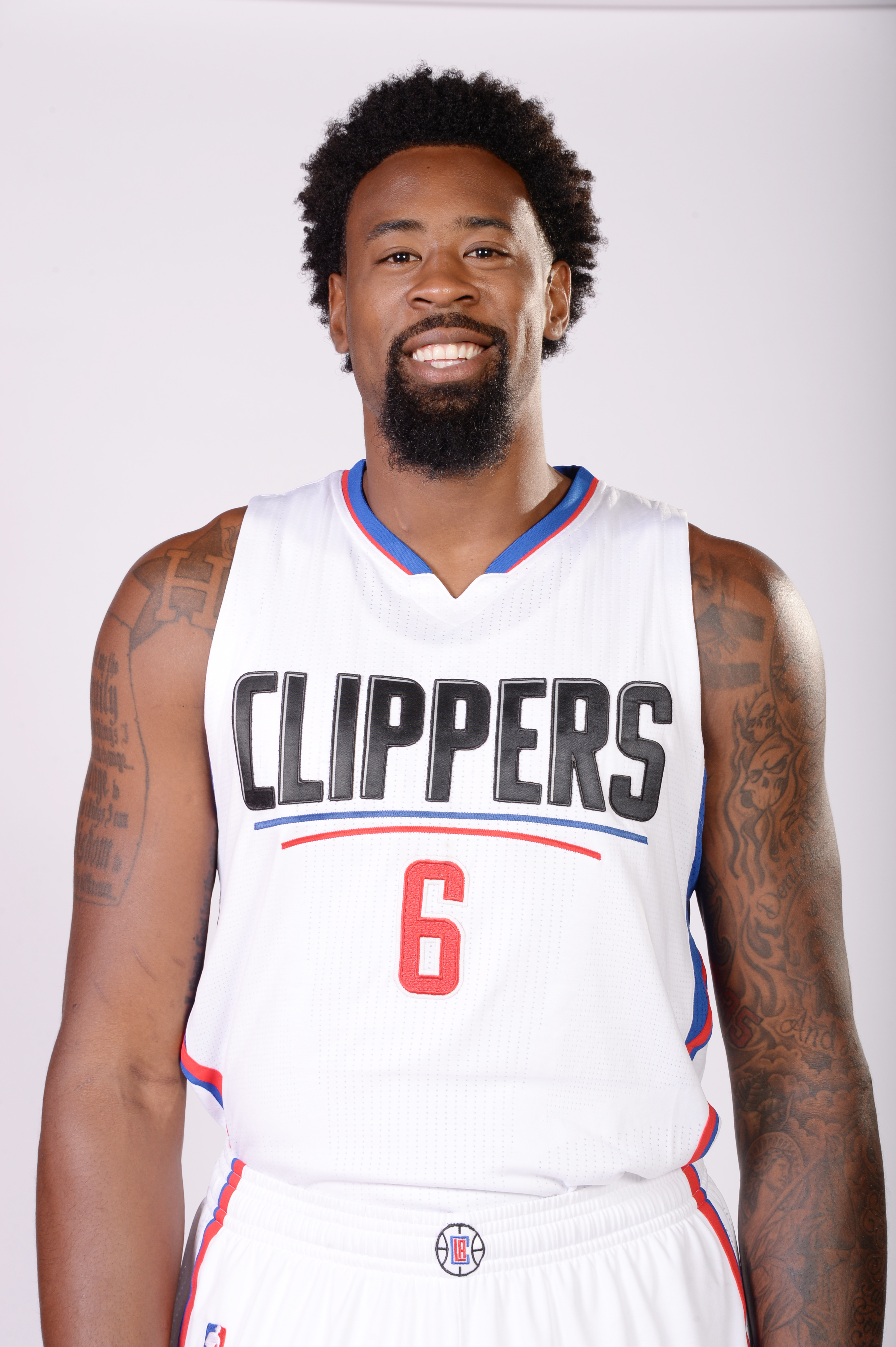 LOS ANGELES, CA - JULY 21: DeAndre Jordan #6 of the Los Angeles Clippers poses for a portrait at STAPLES Center on July 21, 2015 in Los Angeles, California. (Photo by Andrew D. Bernstein/NBAE via Getty Images)