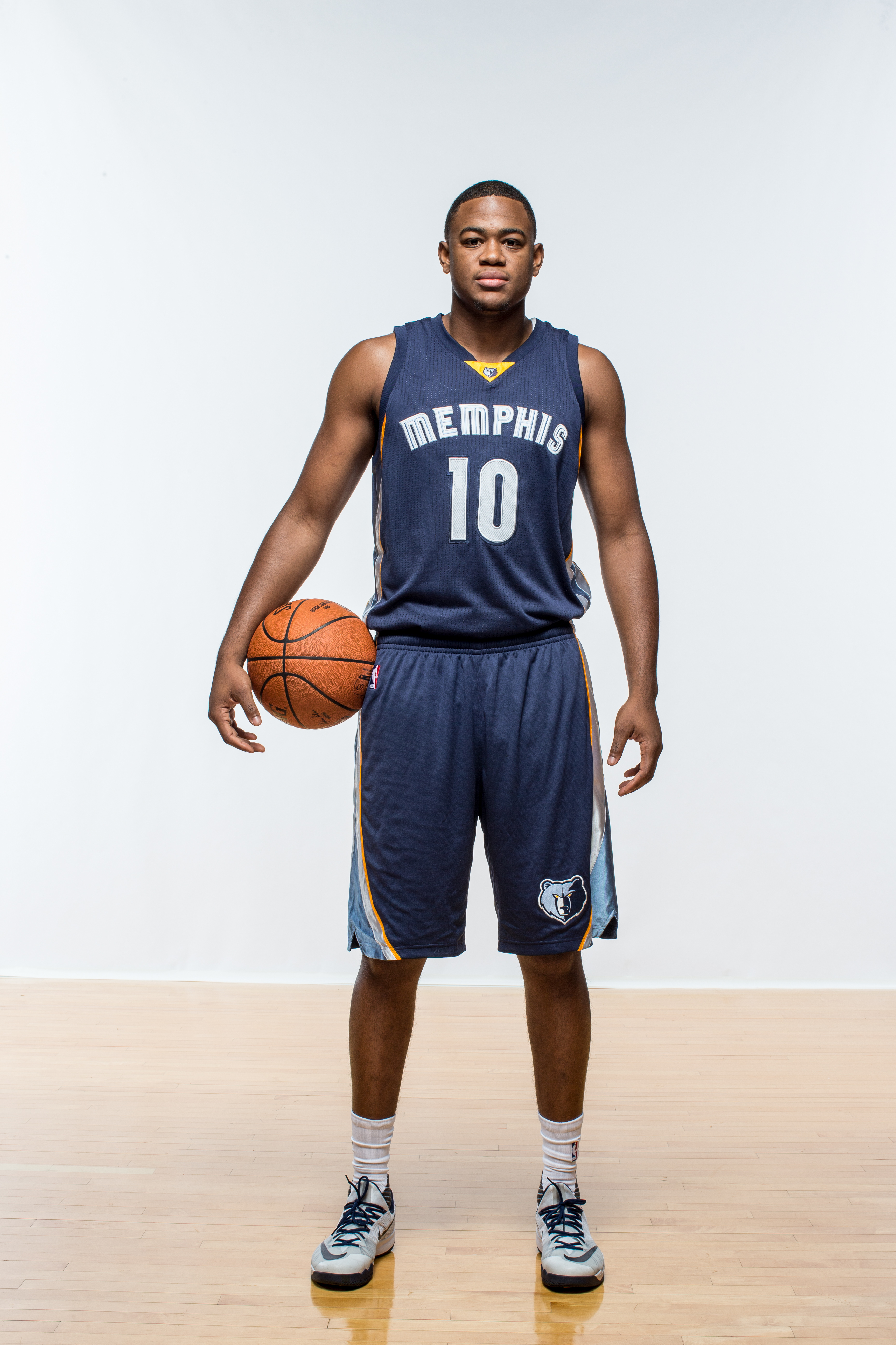 TARRYTOWN, NY - AUGUST 08:  Jarrell Martin #10 of the Memphis Grizzlies poses for a portrait during the 2015 NBA rookie photo shoot on August 8, 2015 at the Madison Square Garden Training Facility in Tarrytown, New York. (Photo by Nick Laham/Getty Images)