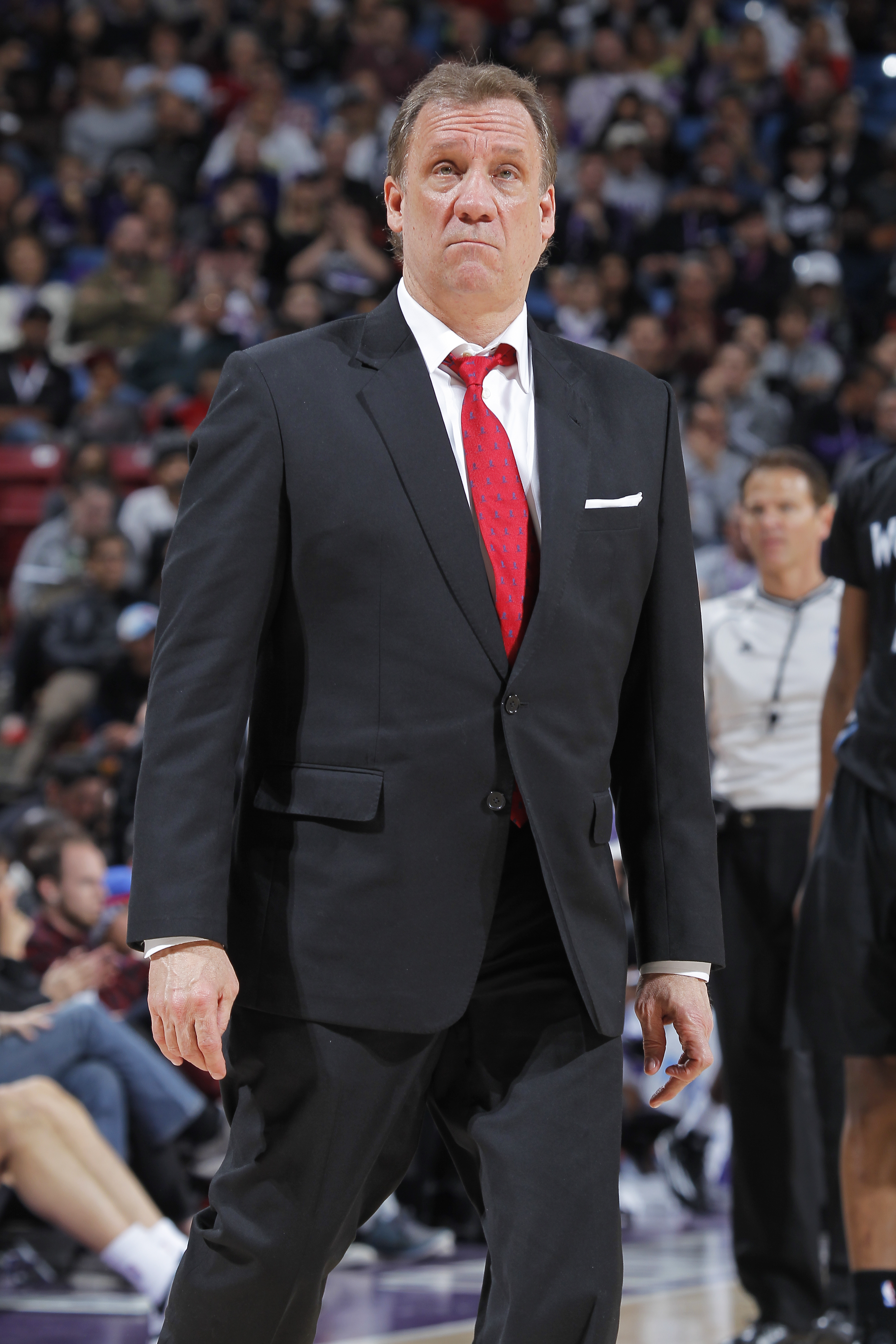 SACRAMENTO, CA - APRIL 7: Head coach Flip Saunders of the Minnesota Timberwolves coaches against the Sacramento Kings on April 7, 2015 at Sleep Train Arena in Sacramento, California. (Photo by Rocky Widner/NBAE via Getty Images)