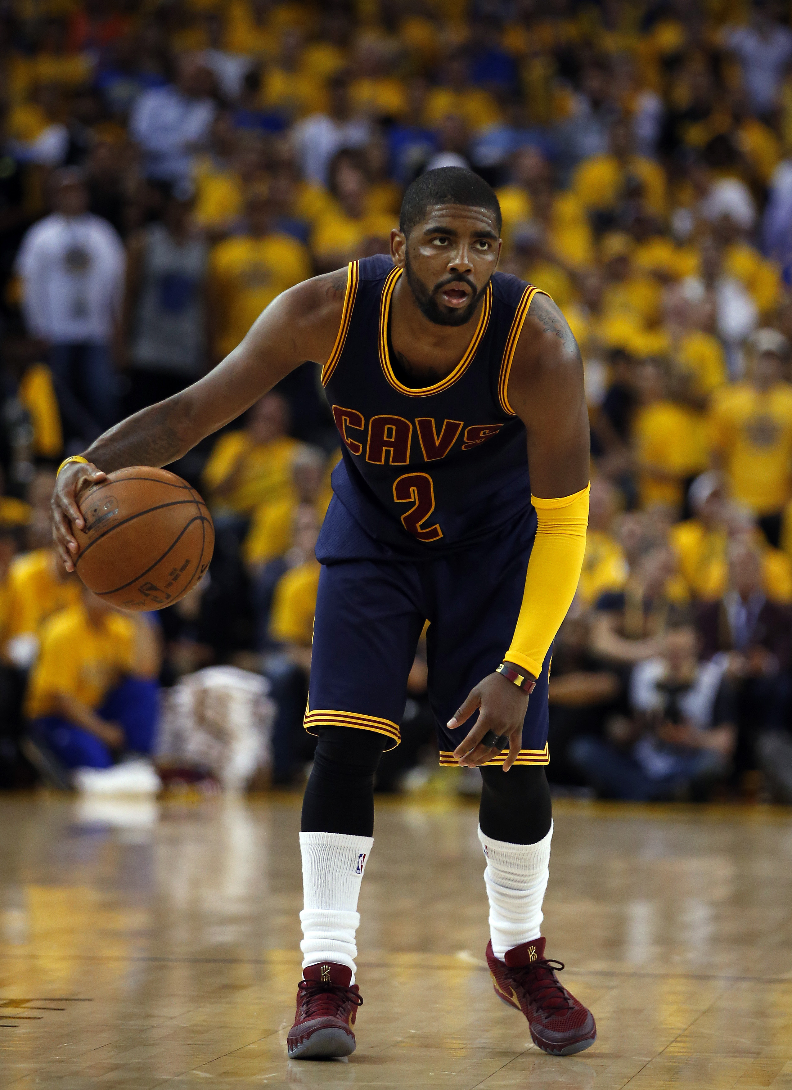 OAKLAND, CA - JUNE 04:  Kyrie Irving #2 of the Cleveland Cavaliers controls the ball against the Golden State Warriors during Game One of the 2015 NBA Finals at ORACLE Arena on June 4, 2015 in Oakland, California. (Photo by Ezra Shaw/Getty Images)