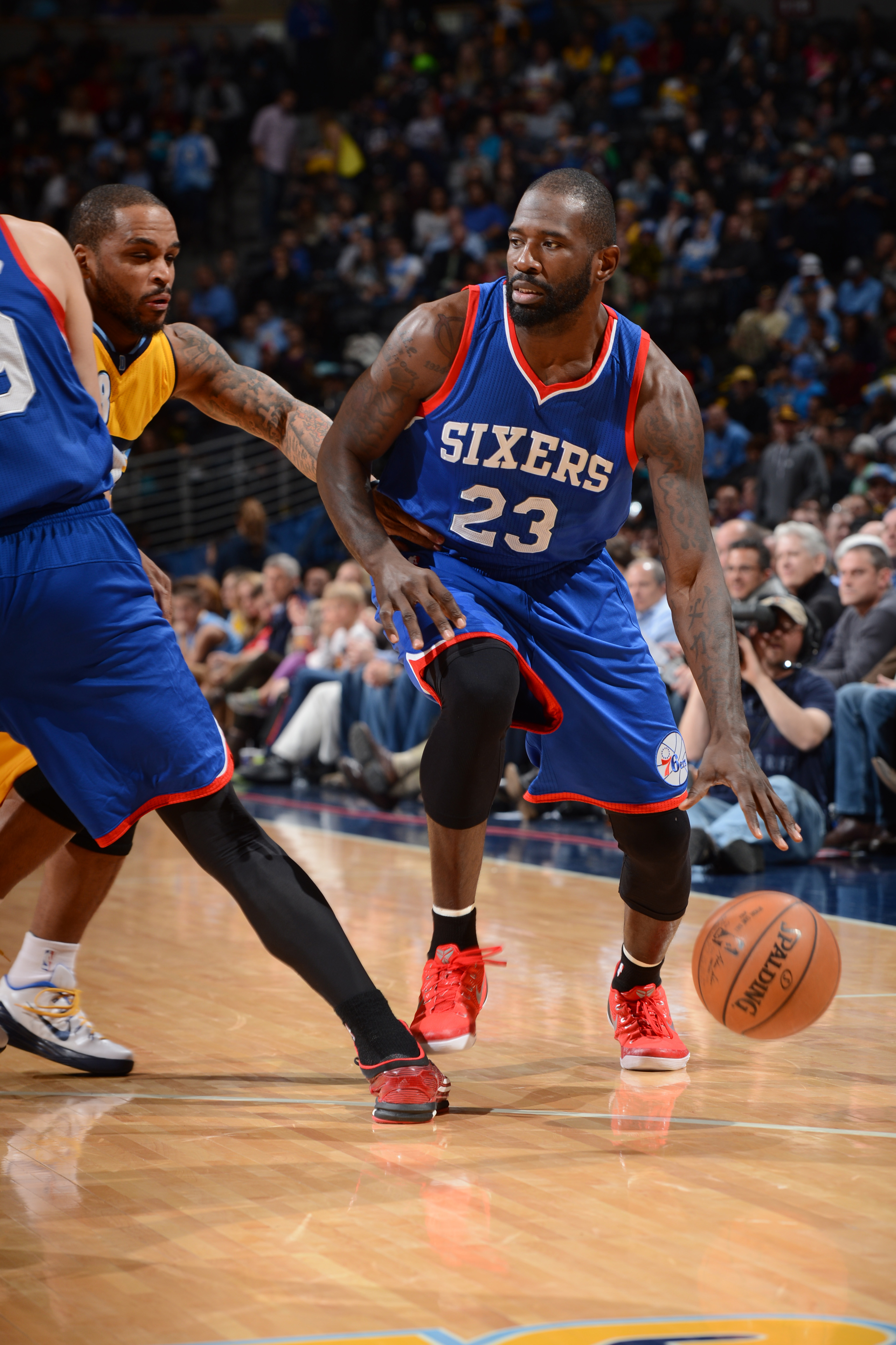 DENVER, CO - MARCH 25: Jason Richardson #23 of the Philadelphia 76ers handles the ball against the Denver Nuggets on March 25, 2015 at the Pepsi Center in Denver, Colorado. (Photo by Garrett W. Ellwood/NBAE via Getty Images)