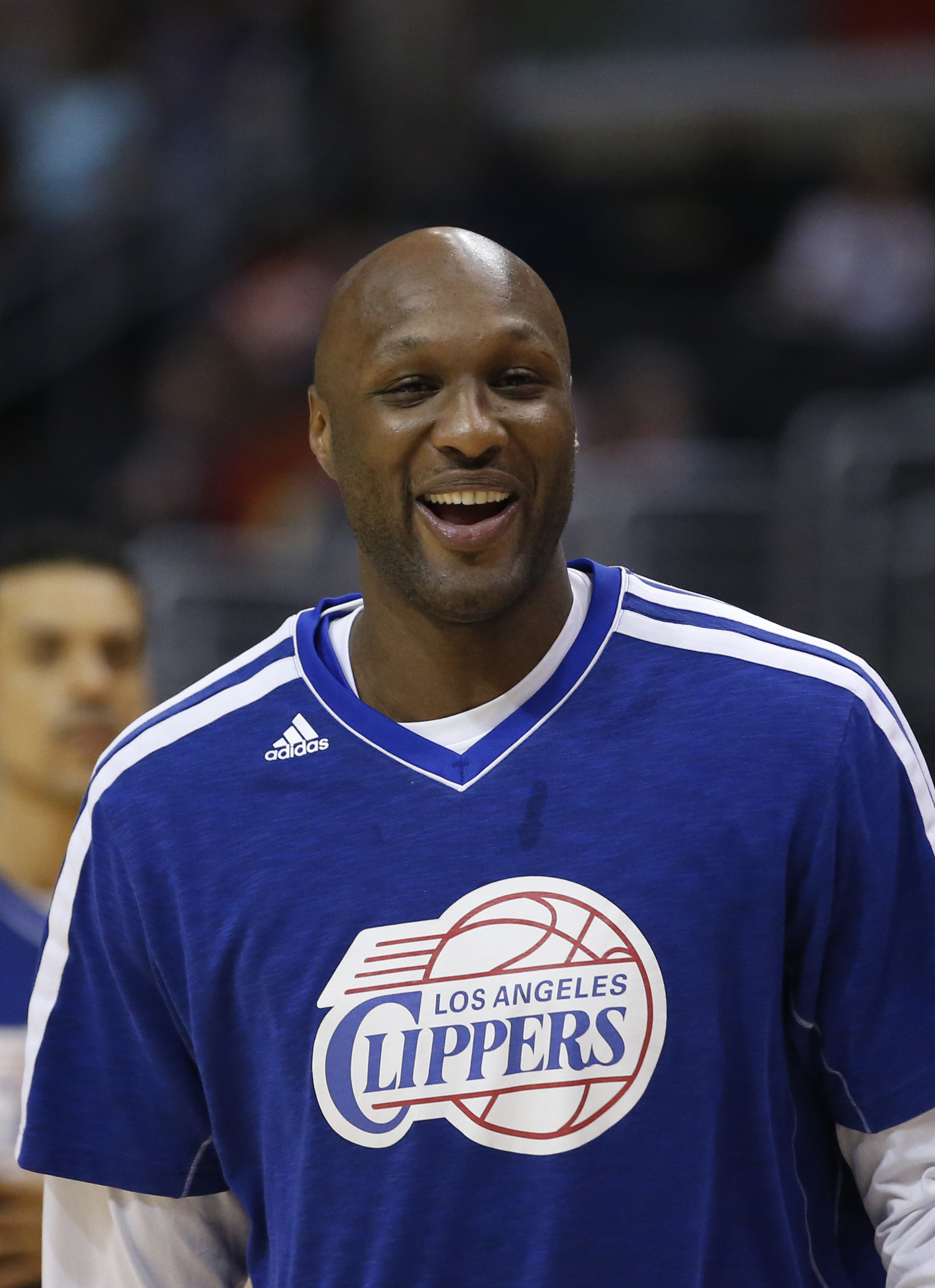 Los Angeles Clippers' Lamar Odom smiles during practice for an NBA basketball game against the Memphis Grizzlies in Los Angeles, Wednesday, March 13, 2013. (AP Photo/Jae C. Hong)