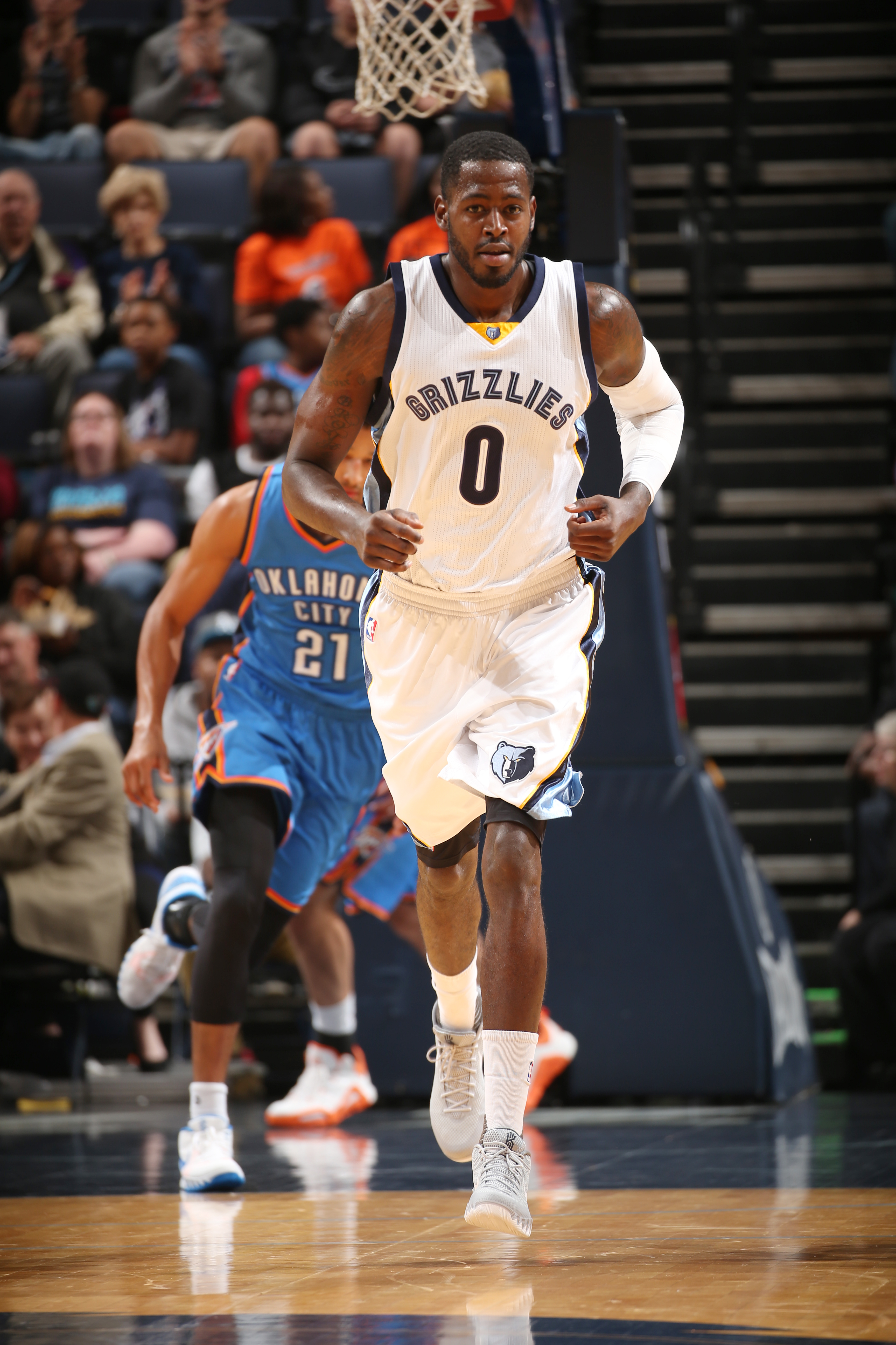 MEMPHIS, TN - OCTOBER 16:  JaMychal Green #0 of the Memphis Grizzlies stands on the court against the Oklahoma City Thunder during a preseason game on October 16, 2015 at FedExForum in Memphis, Tennessee. (Photo by Joe Murphy/NBAE via Getty Images)