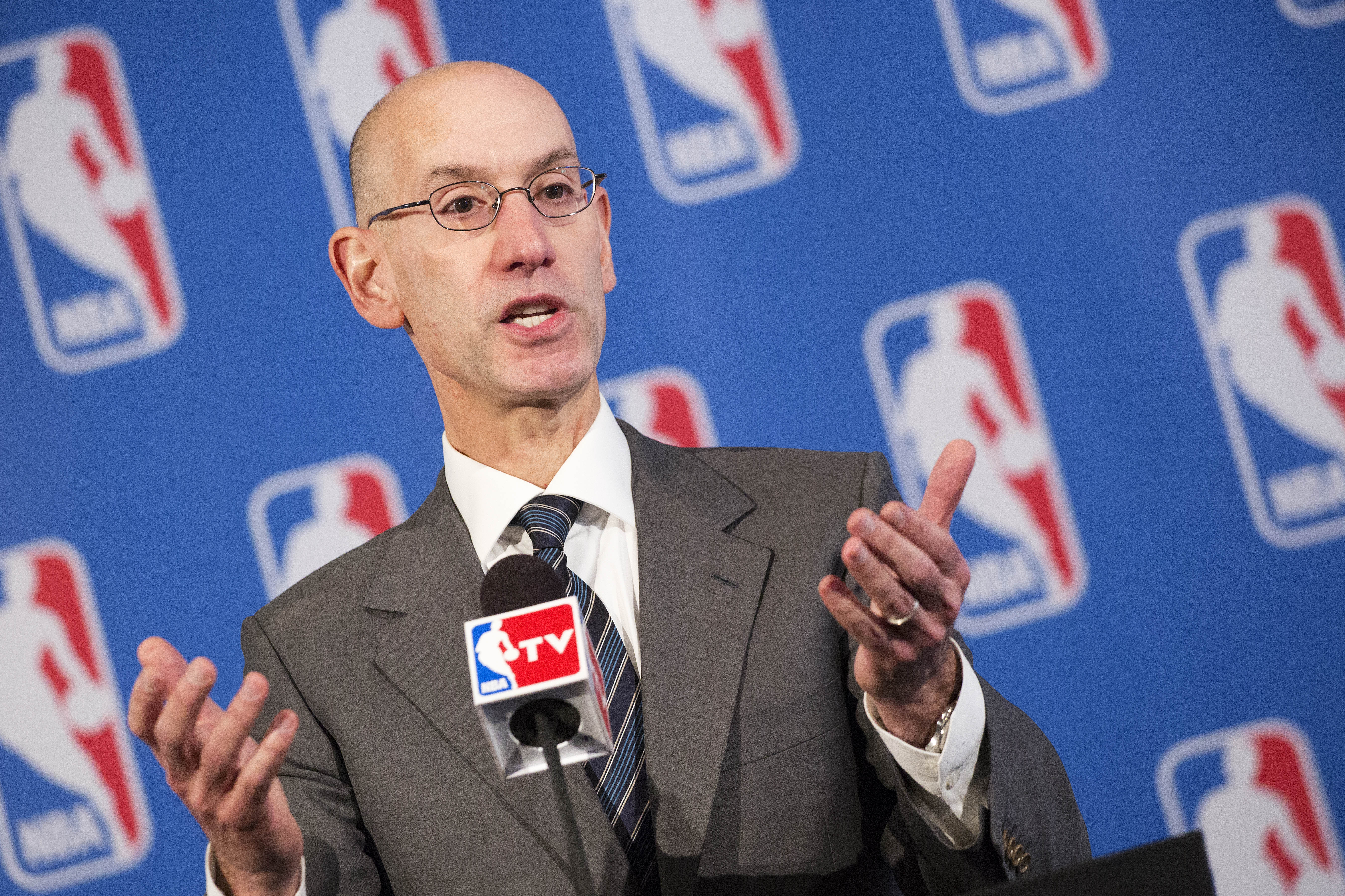 NBA Commissioner Adam Silver speaks at a news conference after an annual NBA basketball owners meeting, Friday, Oct. 23, 2015 in New York. (AP Photo/Mark Lennihan)