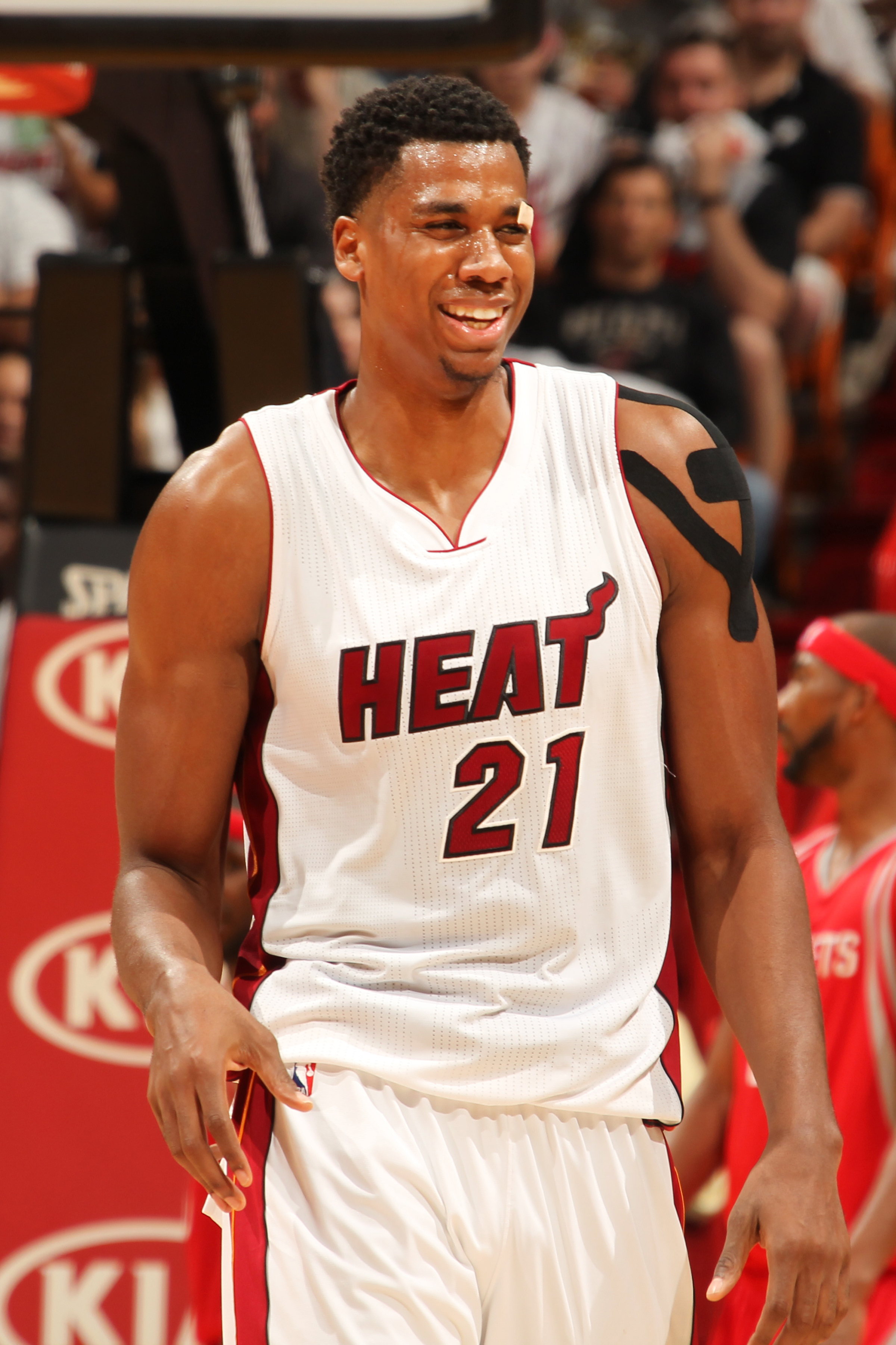 MIAMI, FL - NOVEMBER 1: Hassan Whiteside #21 of the Miami Heat during the game against the Houston Rockets on November 1, 2015 at American Airlines Arena in Miami, Florida. (Photo by Issac Baldizon/NBAE via Getty Images)