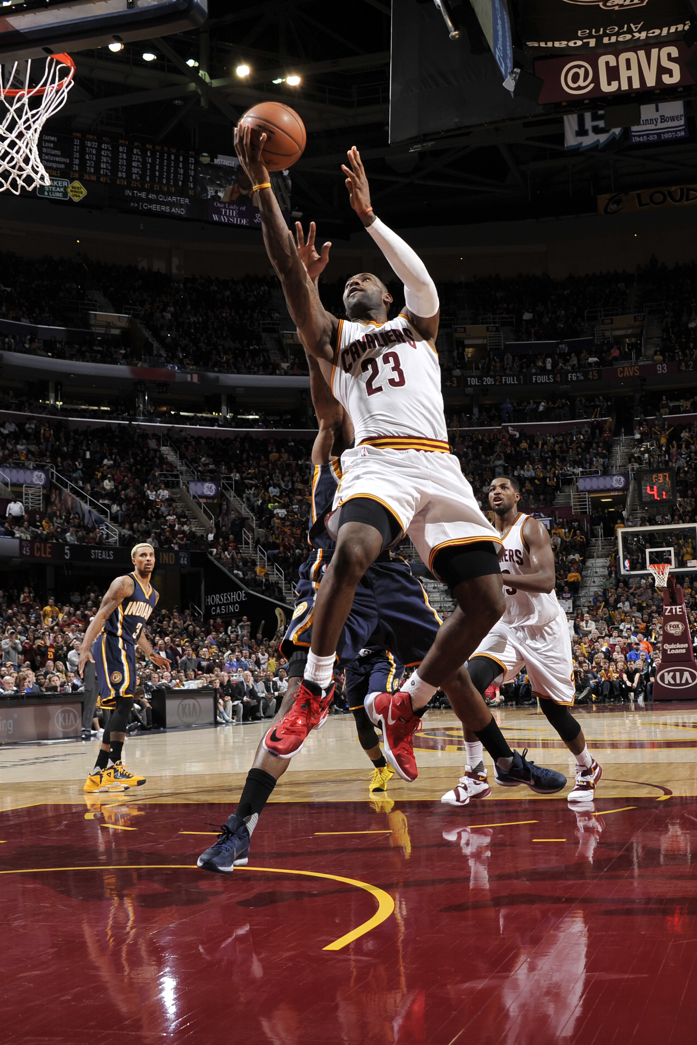CLEVELAND, OH - NOVEMBER 8:  LeBron James #23 of the Cleveland Cavaliers shoots the ball against the Indiana Pacers on November 8, 2015 at Quicken Loans Arena in Cleveland, Ohio. (Photo by David Liam Kyle/NBAE via Getty Images)