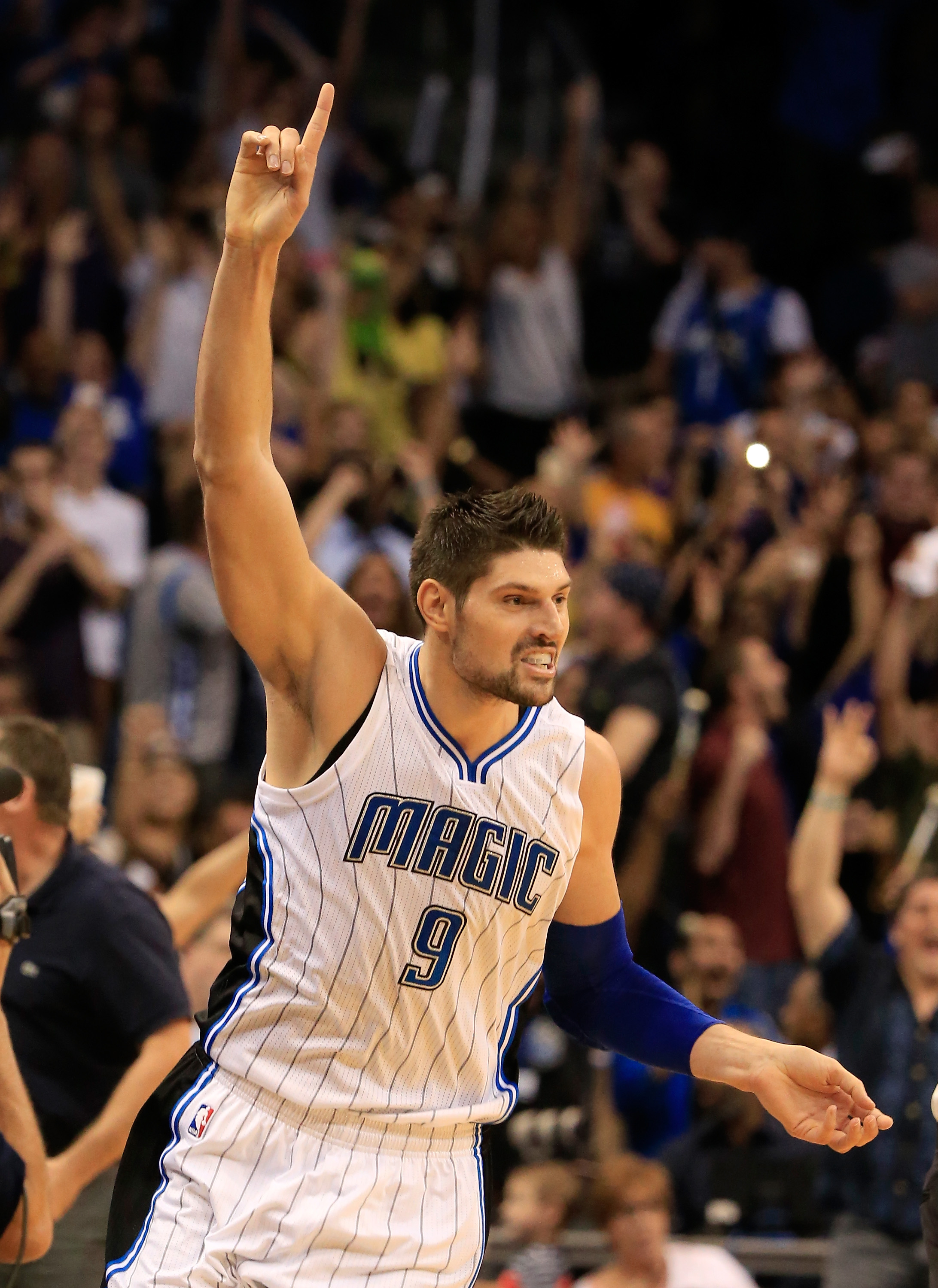 ORLANDO, FL - NOVEMBER 11:  Nikola Vucevic #9 of the Orlando Magic celebrates a game winning shot to defeat the Los Angeles Lakers 101-99 at Amway Center on November 11, 2015 in Orlando, Florida.  (Photo by Sam Greenwood/Getty Images)