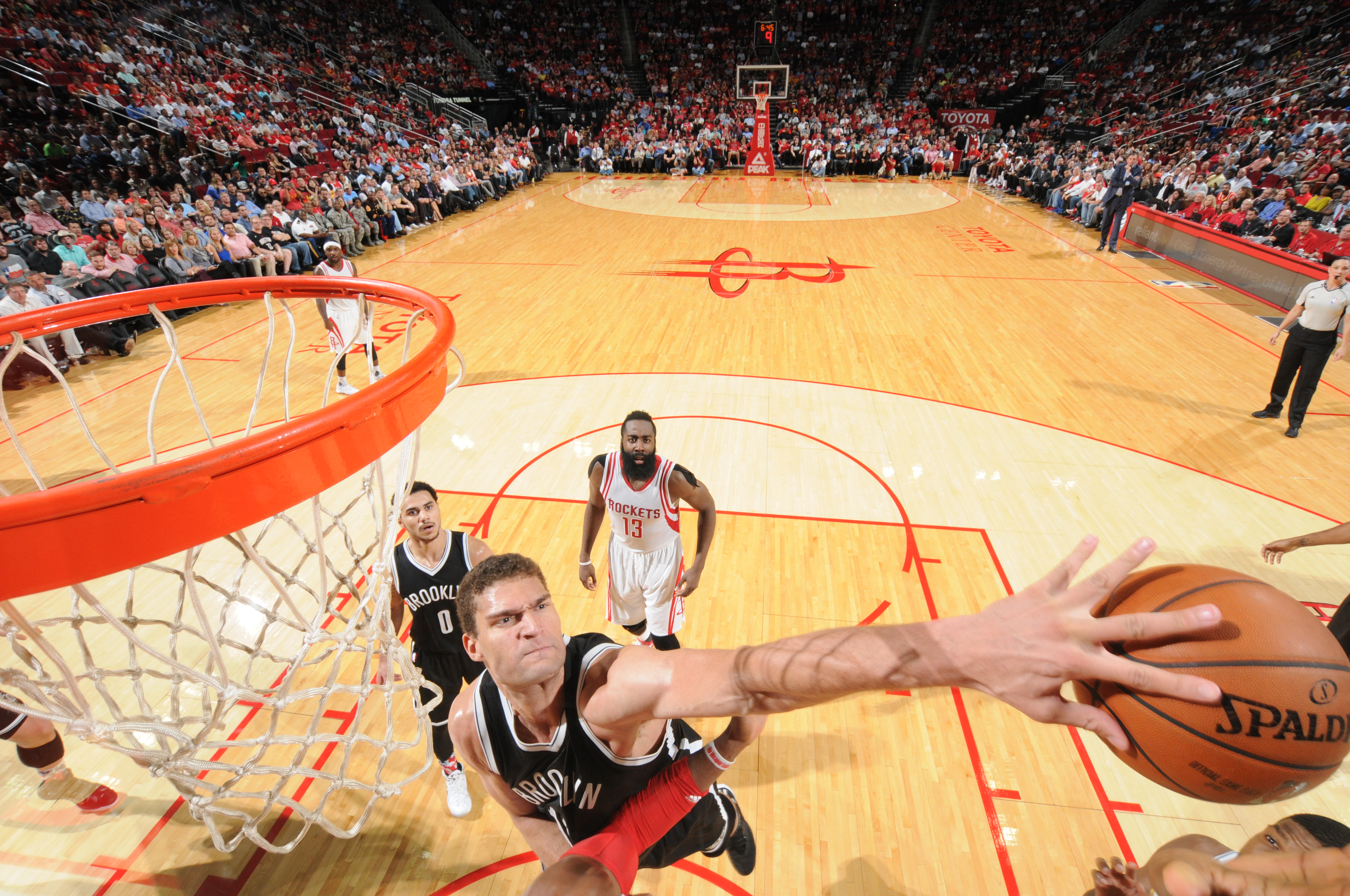 HOUSTON, TX - NOVEMBER 11:  Brook Lopez #11 of the Brooklyn Nets blocks a shot against the Houston Rockets on November 11, 2015 at the Toyota Center in Houston, Texas. (Photo by Bill Baptist/NBAE via Getty Images)