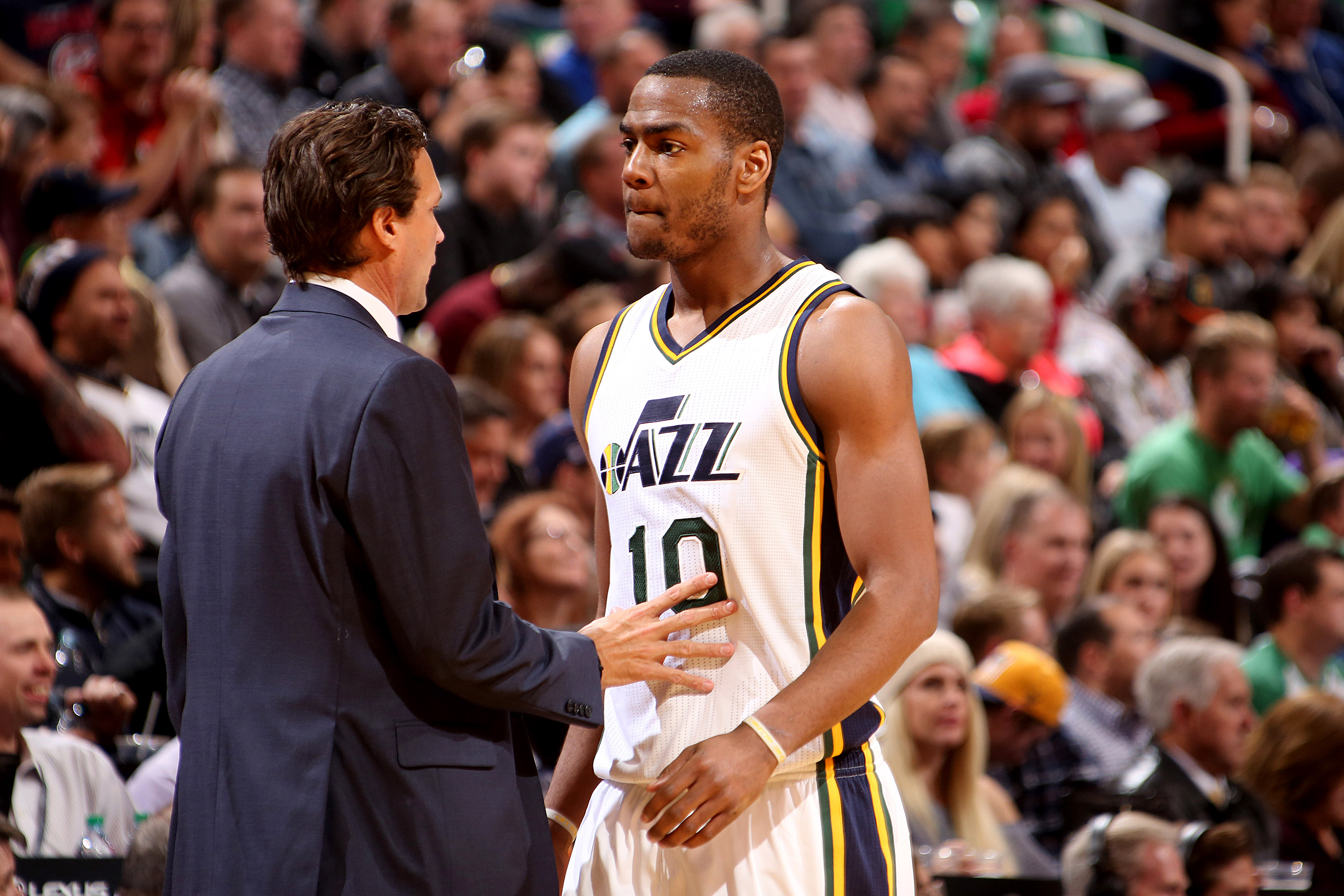 SALT LAKE CITY, UT - NOVEMBER 18: Alec Burks #10 of the Utah Jazz discusses with Quin Snyder of the Utah Jazz during the game against the Toronto Raptors on November 18, 2015 at EnergySolutions Arena in Salt Lake City, Utah. (Photo by Melissa Majchrzak/NB