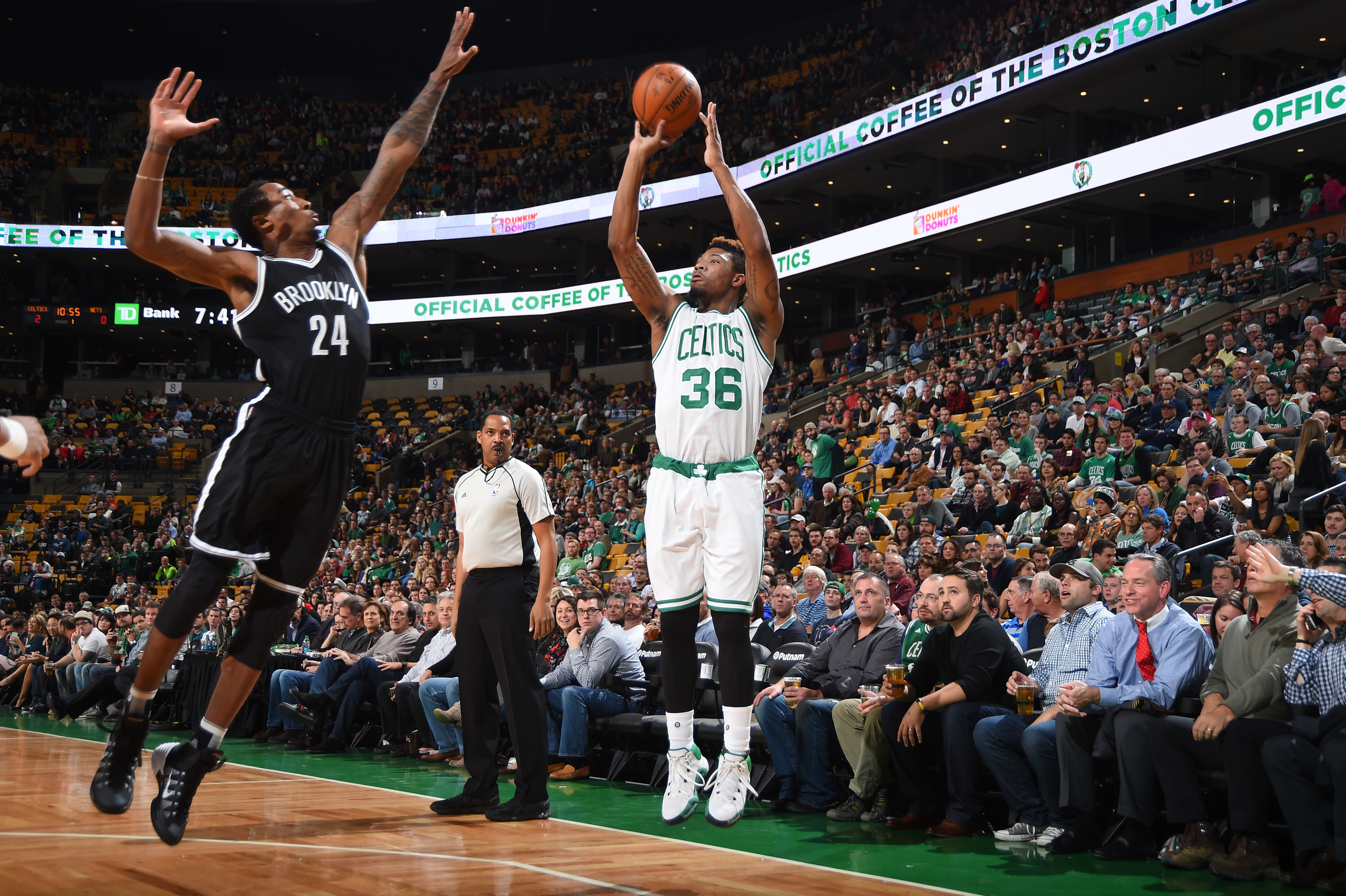 BOSTON, MA - NOVEMBER 20: Marcus Smart #36 of the Boston Celtics shoots the ball against the Brooklyn Nets on November 20, 2015 at the TD Garden in Boston, Massachusetts.  (Photo by Steve Babineau/NBAE via Getty Images)