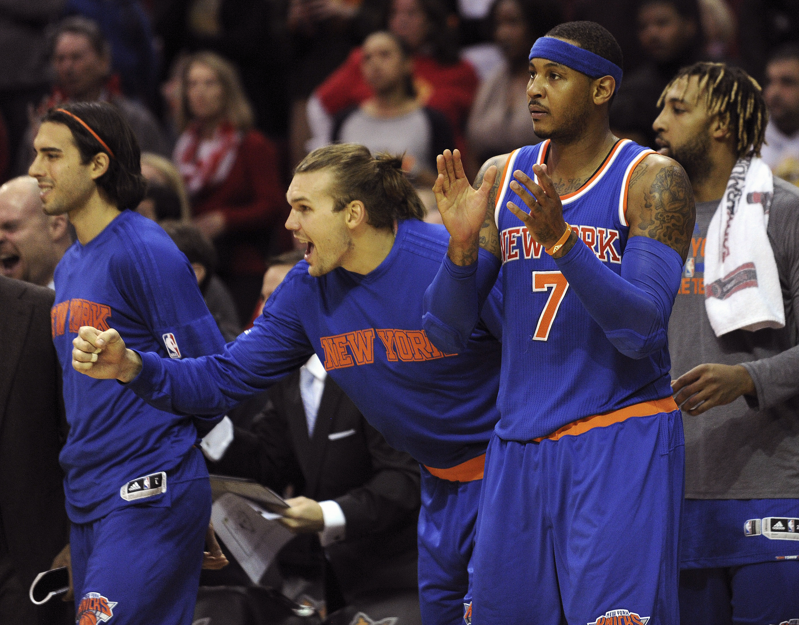 New York Knicks forward Carmelo Anthony (7) claps after Houston Rockets guard James Harden was called for an offensive foul in the second half of an NBA basketball game, Saturday, Nov. 21, 2015, in Houston. (AP Photo/Eric Christian Smith)