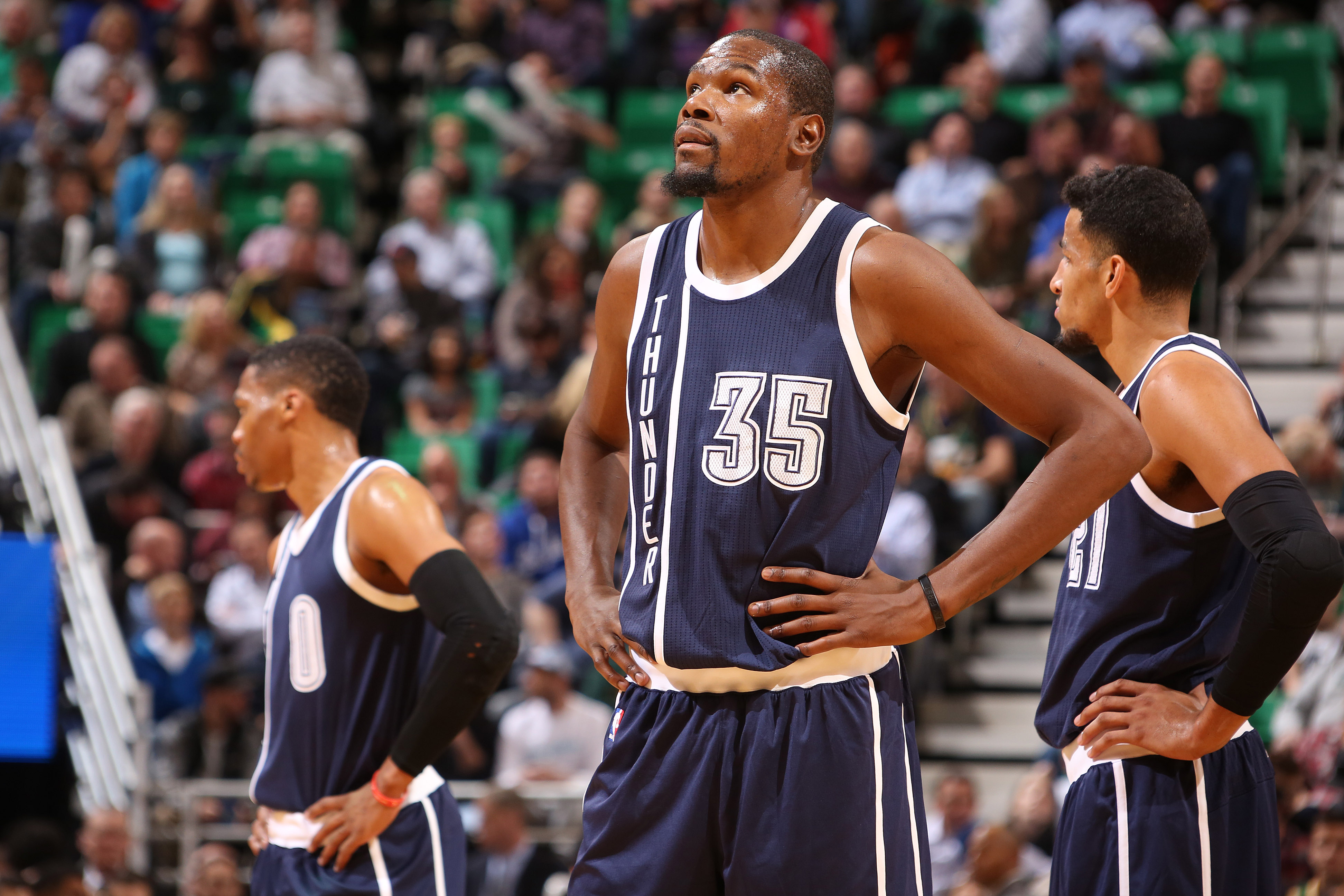 SALT LAKE CITY, UT - NOVEMBER 23:  Kevin Durant #35 of the Oklahoma City Thunder looks on during the game against the Utah Jazz on November 23, 2015 at Vivint Smart Home Arena in Salt Lake City, Utah. (Photo by Melissa Majchrzak/NBAE via Getty Images)