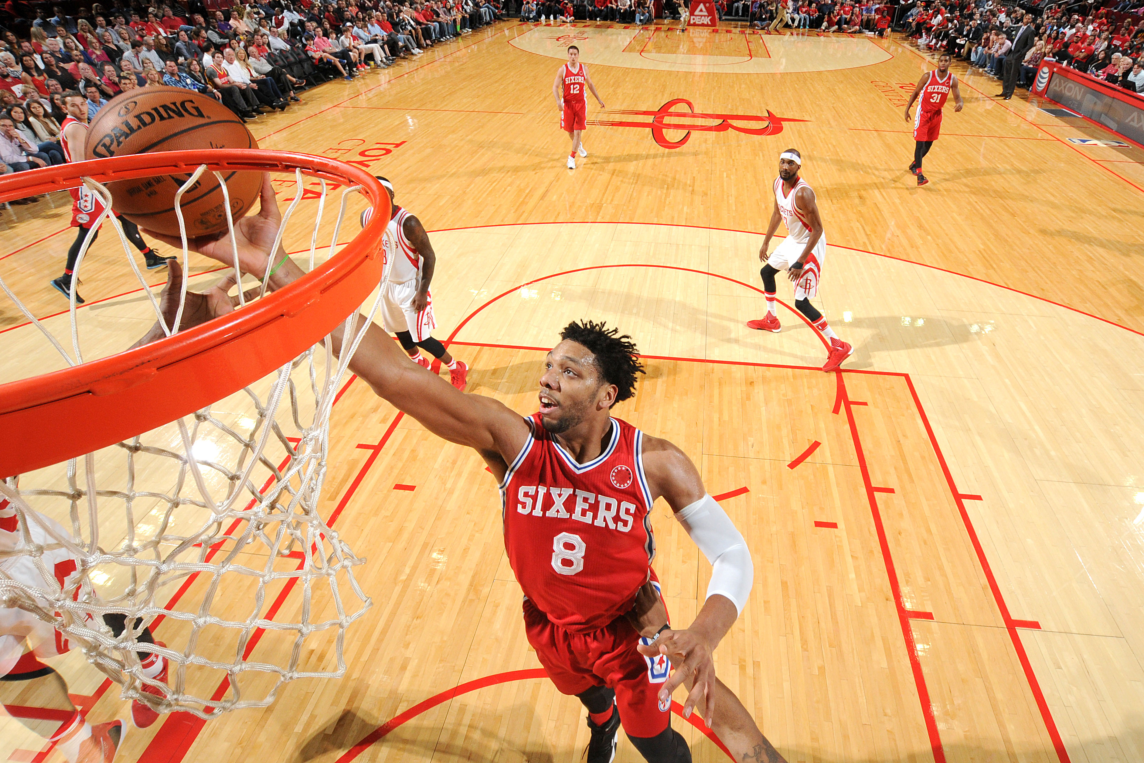 HOUSTON, TX - NOVEMBER 27: Jahlil Okafor #8 of the Philadelphia 76ers shoots the ball during the game against the Houston Rockets on November 27, 2015 at the Toyota Center in Houston, Texas. (Photo by Bill Baptist/NBAE via Getty Images)