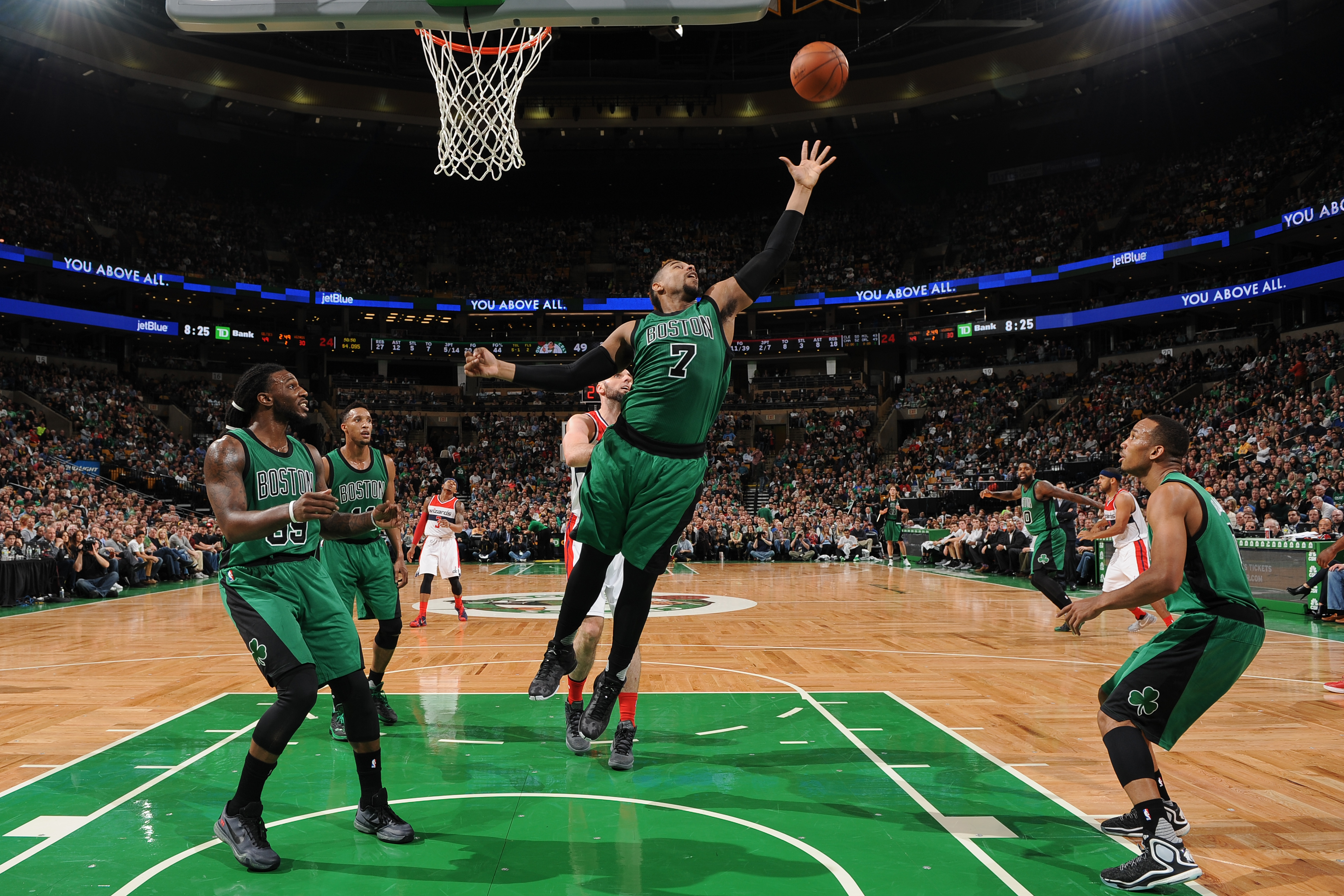 BOSTON, MA - NOVEMBER 27: Jared Sullinger #7 of the Boston Celtics grabs the rebound against the Washington Wizards during the game on November 27, 2015 at the TD Garden in Boston, Massachusetts.  (Photo by Brian Babineau/NBAE via Getty Images)
