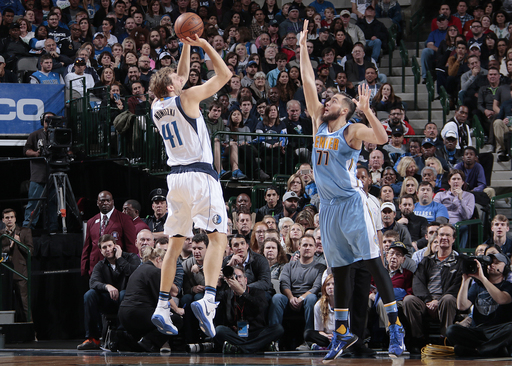 DALLAS, TX - NOVEMBER 28: Dirk Nowitzki #41 of the Dallas Mavericks shoots a jumper against the Denver Nuggets on November 28, 2015 at the American Airlines Center in Dallas, Texas. (Photo by Danny Bollinger/NBAE via Getty Images)