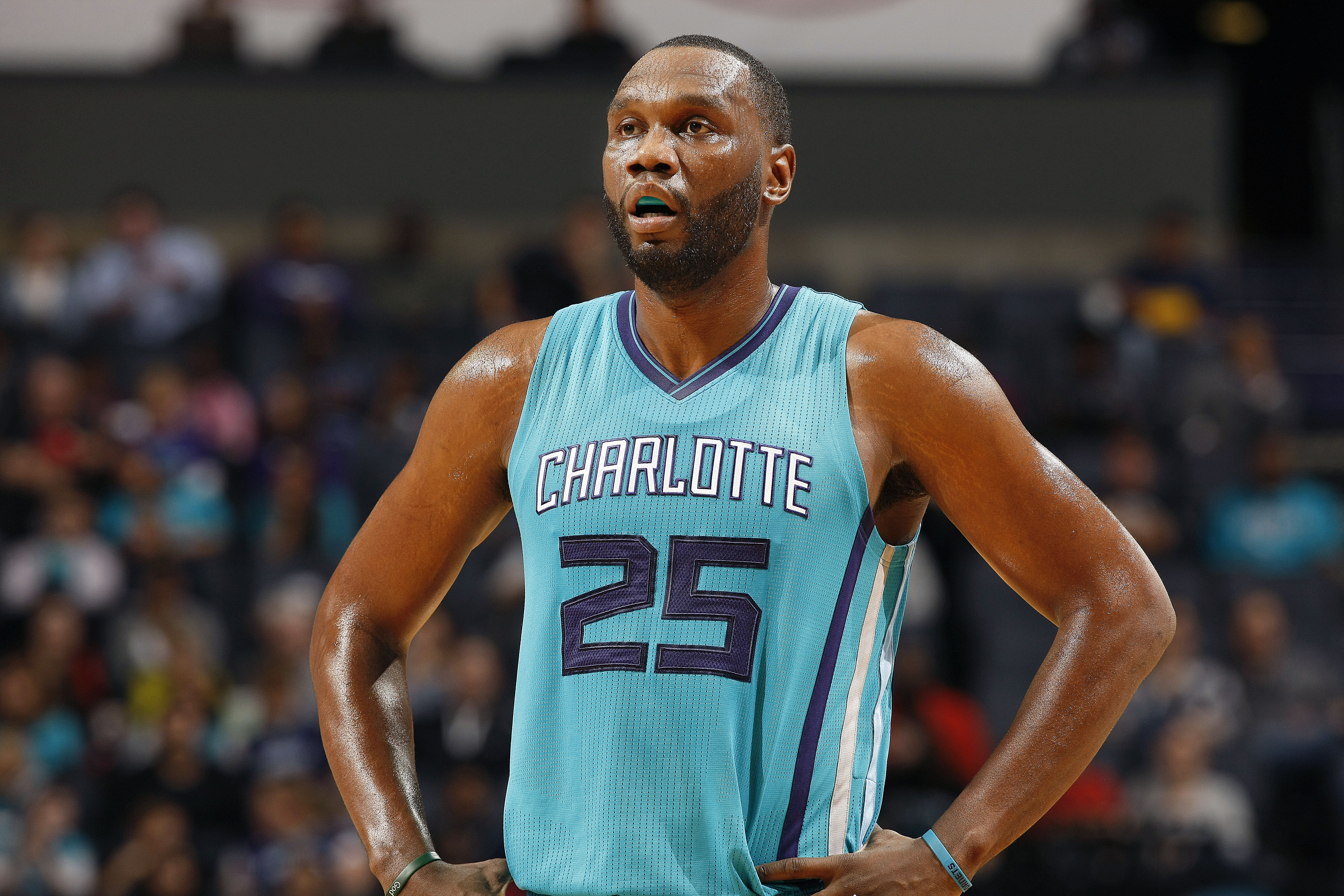 CHARLOTTE, NC - NOVEMBER 29: Al Jefferson #25 of the Charlotte Hornets looks on during the game against the Milwaukee Bucks on November 29, 2015 at Time Warner Cable Arena in Charlotte, North Carolina. (Photo by Kent Smith/NBAE via Getty Images)