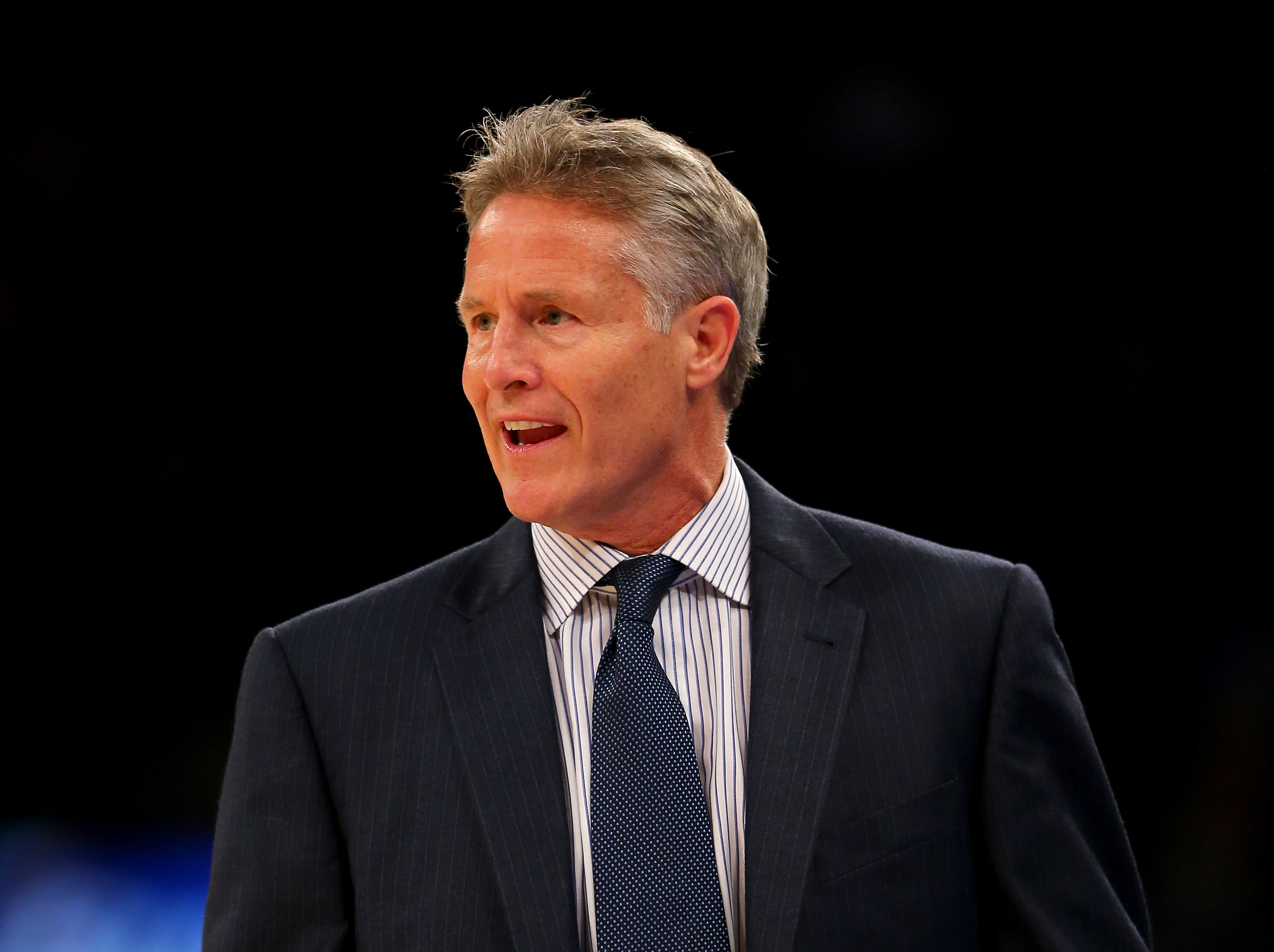 NEW YORK, NY - DECEMBER 02:  Brett Brown of the Philadelphia 76ers directs his players in the first half against the New York Knicks at Madison Square Garden on December 2, 2015 in New York City.(Photo by Elsa/Getty Images)