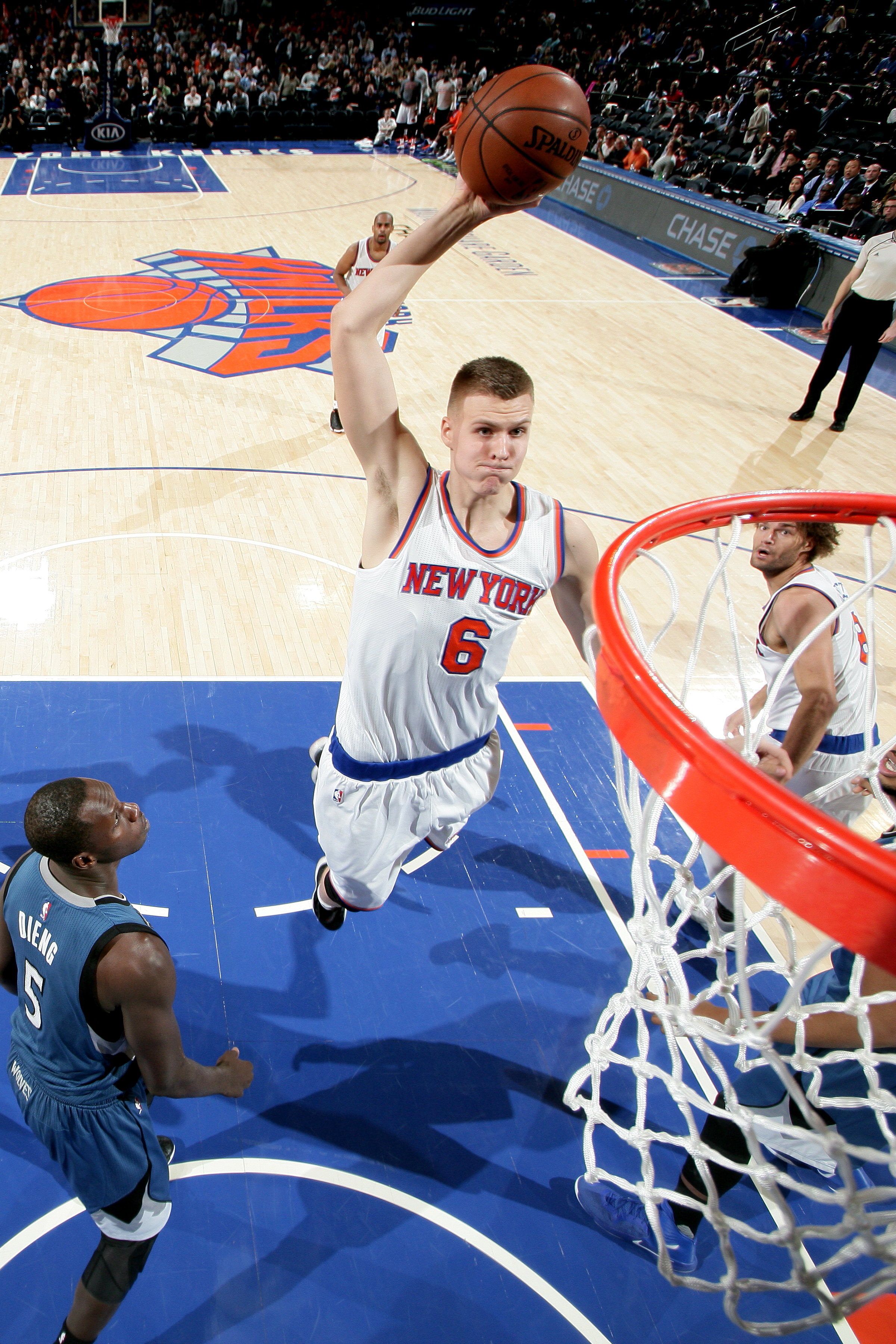 NEW YORK, NY - DECEMBER 16: Kristaps Porzingis #6 of the New York Knicks goes for the dunk during the game against the Minnesota Timberwolves on December 16, 2015 at Madison Square Garden in New York City, New York.  (Photo by Nathaniel S. Butler/NBAE via