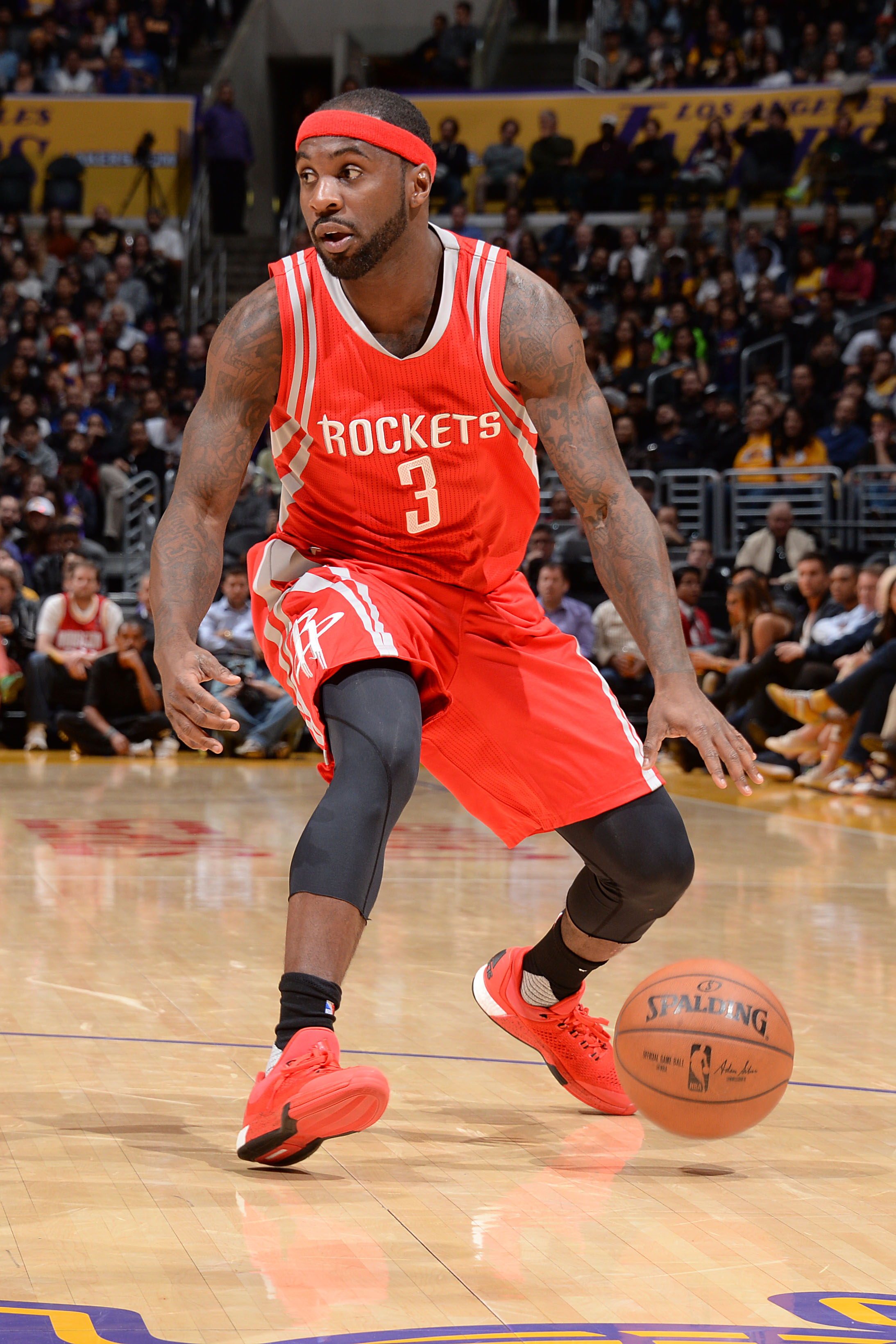 LOS ANGELES, CA - DECEMBER 17: Ty Lawson #3 of the Houston Rockets handles the ball during the game against the Los Angeles Lakers on December 17, 2015 at STAPLES Center in Los Angeles, California. (Photo by Andrew D. Bernstein/NBAE via Getty Images)