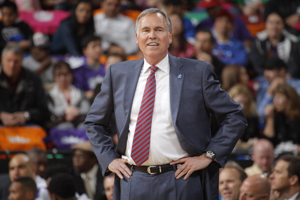 SACRAMENTO, CA - APRIL 2: Mike D'Antoni of the Los Angeles Lakers coaches against the Sacramento Kings on April 2, 2014 at Sleep Train Arena in Sacramento, California. (Photo by Rocky Widner/NBAE via Getty Images)