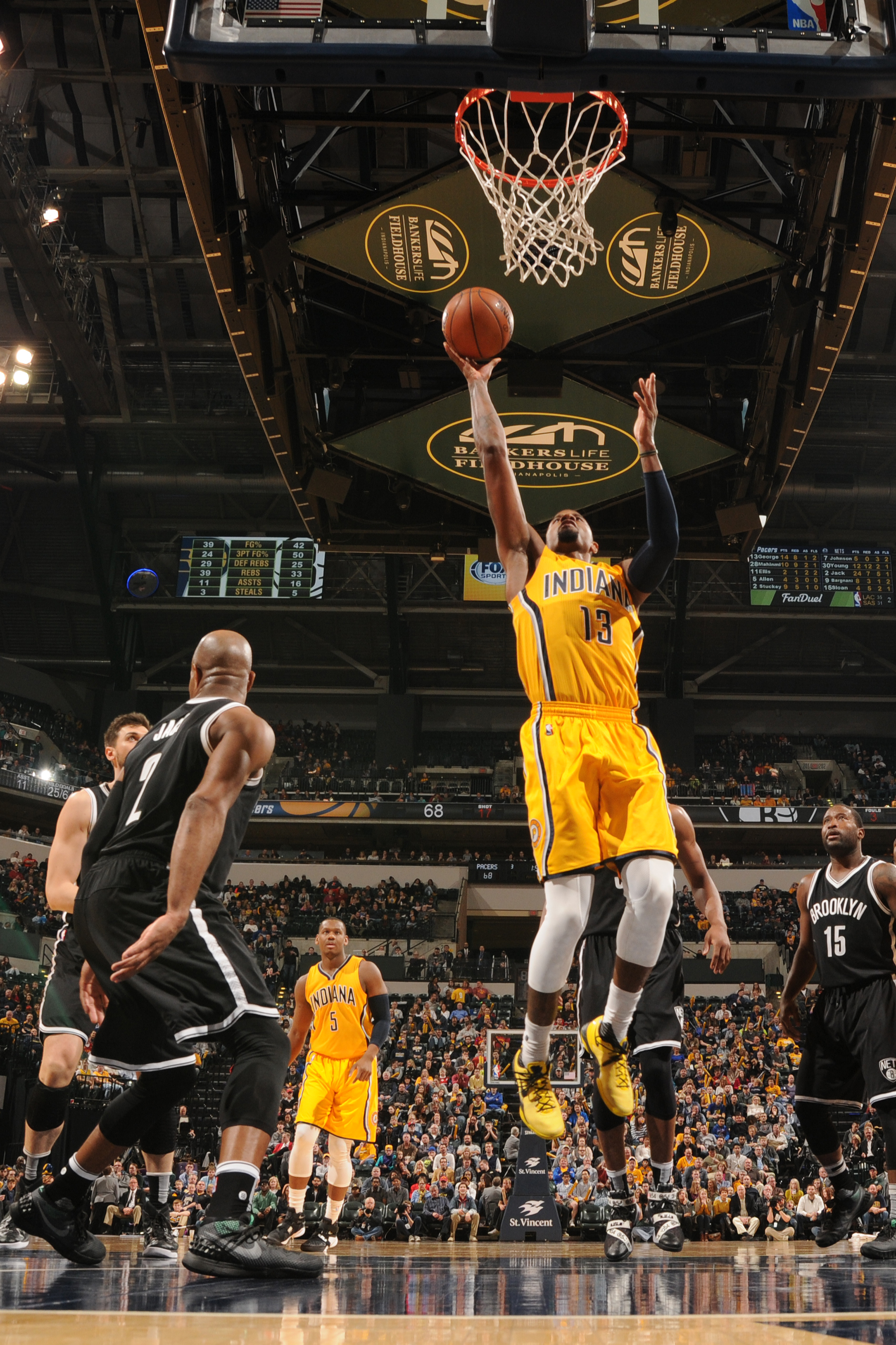 INDIANAPOLIS, IN - DECEMBER 18: Paul George #13 of the Indiana Pacers shoots the ball against the Brooklyn Nets on December 18, 2015 at Bankers Life Fieldhouse in Indianapolis, Indiana. (Photo by Ron Hoskins/NBAE via Getty Images)