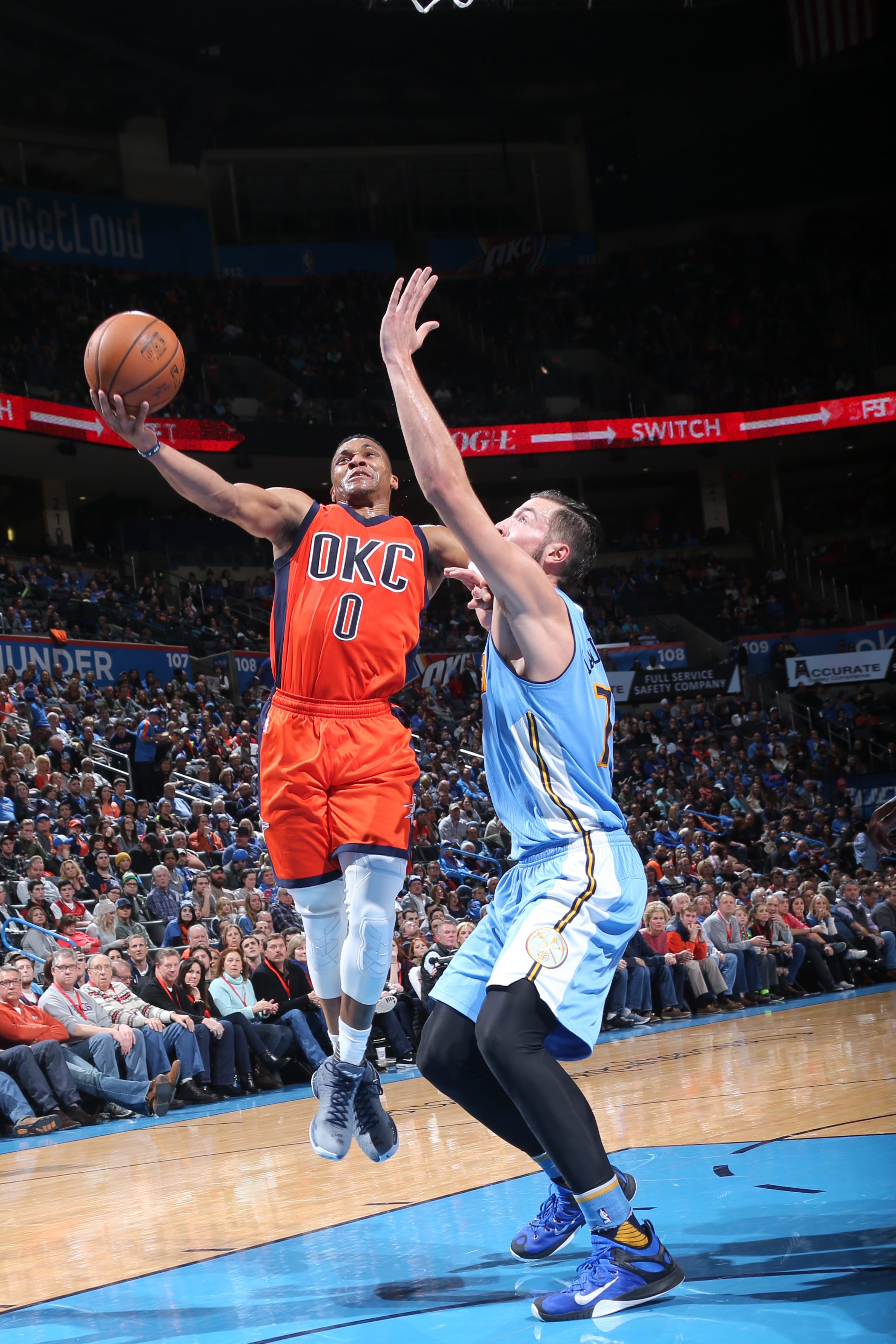 OKLAHOMA CITY, OK - DECEMBER 27:  Russell Westbrook #0 of the Oklahoma City Thunder goes to the basket against the Denver Nuggets on December 27, 2015 at Chesapeake Energy Arena in Oklahoma City, Oklahoma. (Photo by Layne Murdoch/NBAE via Getty Images)
