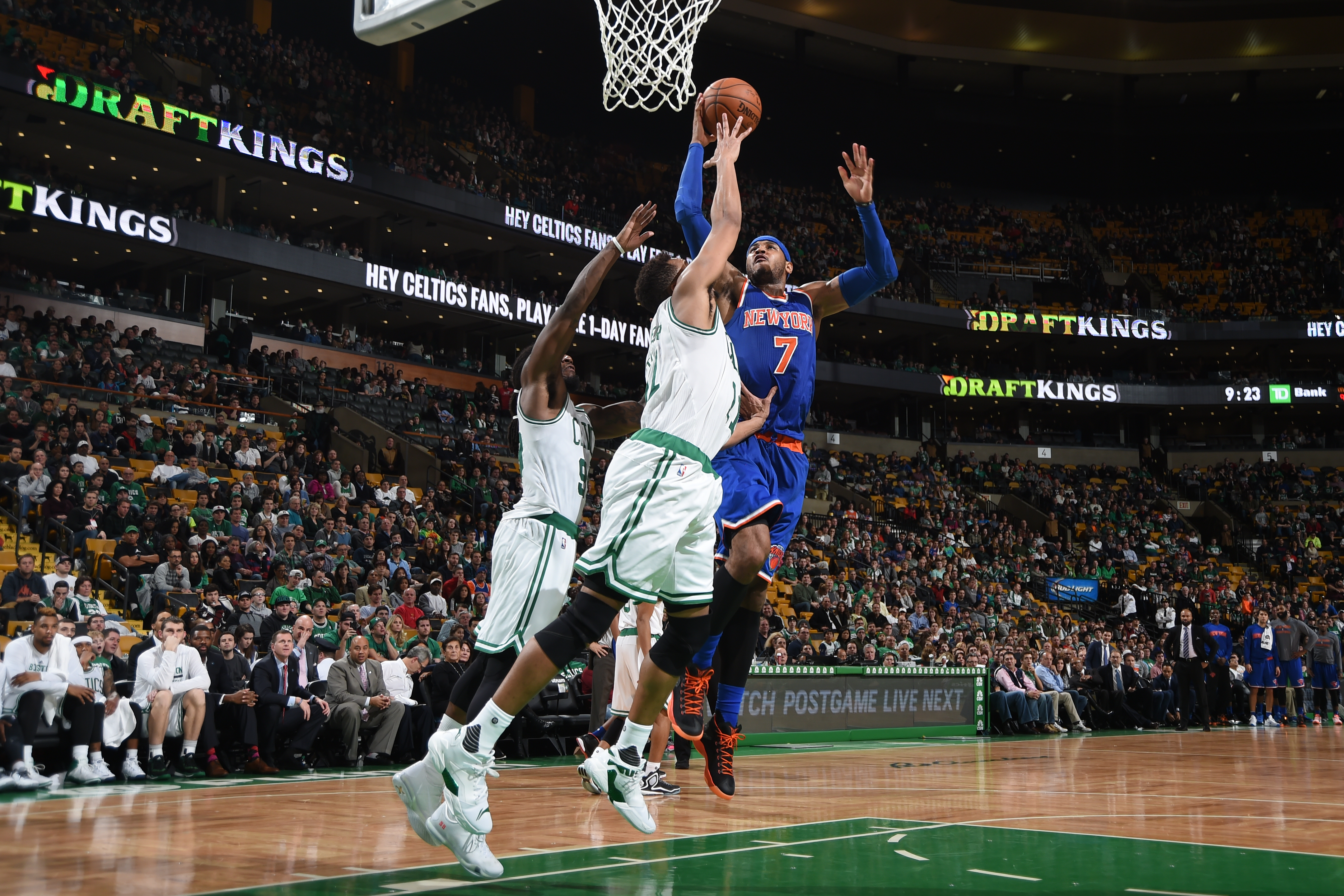 BOSTON, MA - DECEMBER 27:  Carmelo Anthony #7 of the New York Knicks goes to the basket against the Boston Celtics on December 27, 2015 at the TD Garden in Boston, Massachusetts.  (Photo by Brian Babineau/NBAE via Getty Images)
