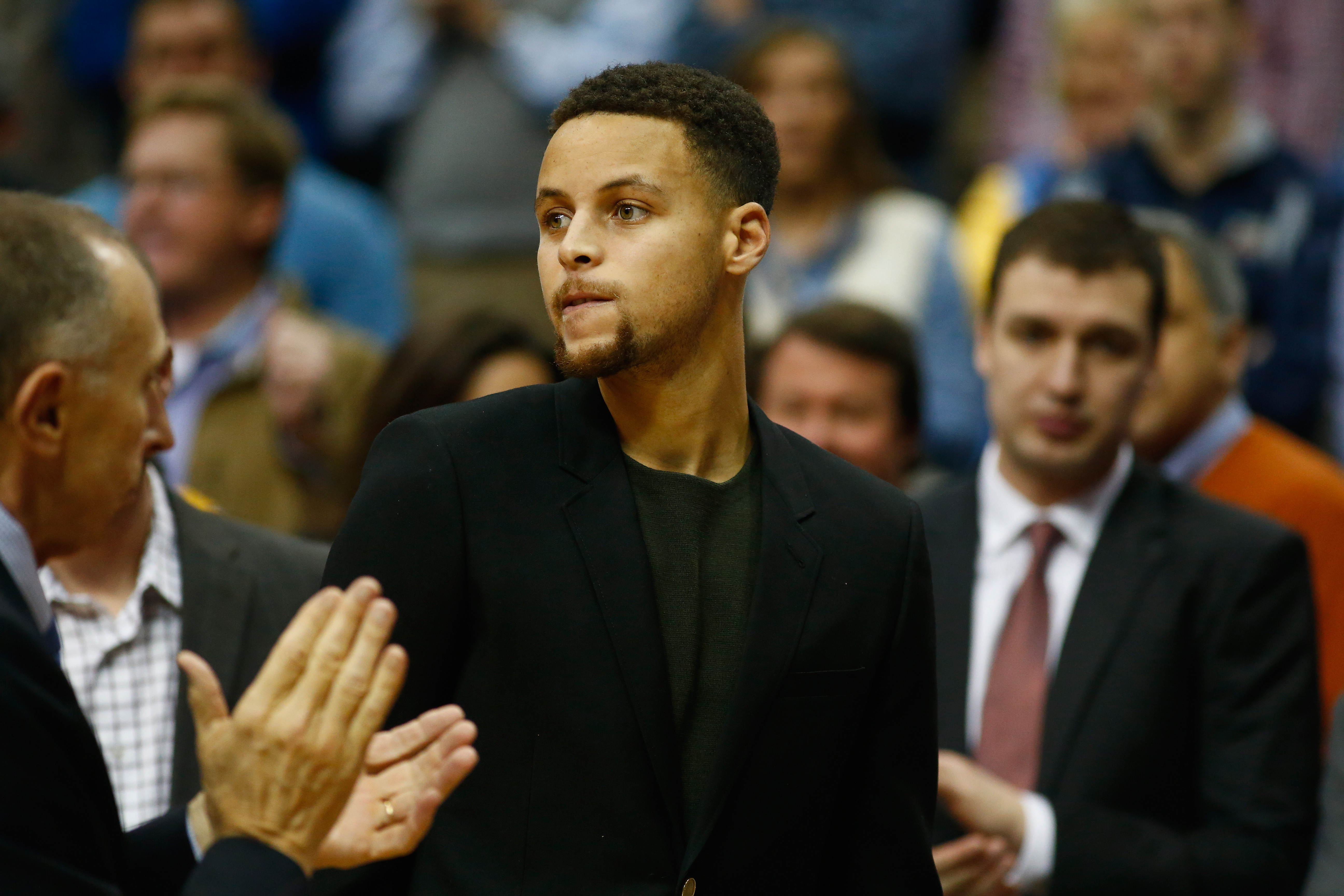 DALLAS, TX - DECEMBER 30:  Stephen Curry #30 of the Golden State Warriors on the bench during a game against the Dallas Mavericks at American Airlines Center on December 30, 2015 in Dallas, Texas.  (Photo by Ronald Martinez/Getty Images)