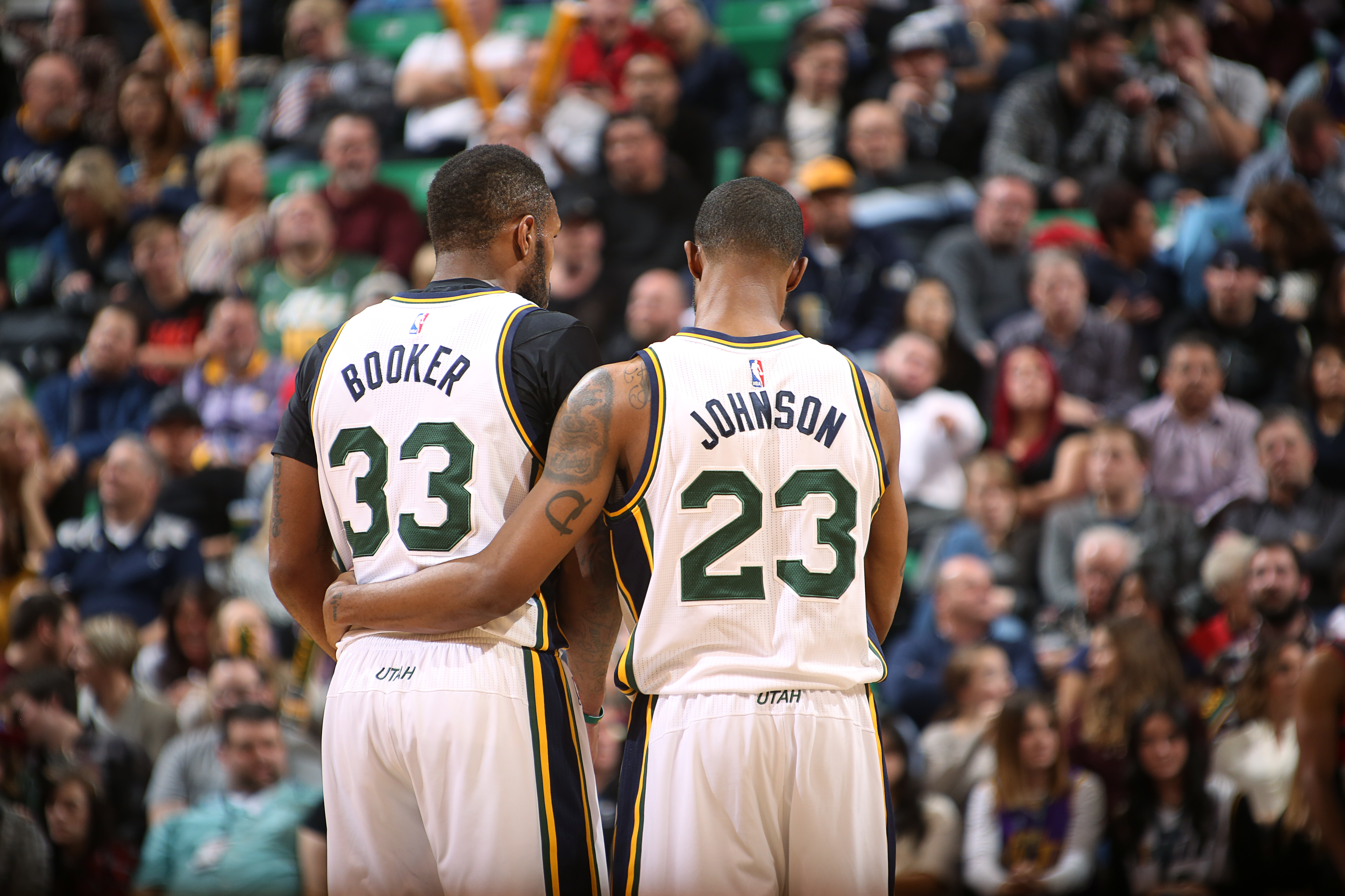 SALT LAKE CITY, UT - DECEMBER 31:  Trevor Booker #33 of the Utah Jazz and Chris Johnson #23 of the Utah Jazz during the game against the Portland Trail Blazers on December 31, 2015 at vivint.SmartHome Arena in Salt Lake City, Utah. (Photo by Melissa Majch