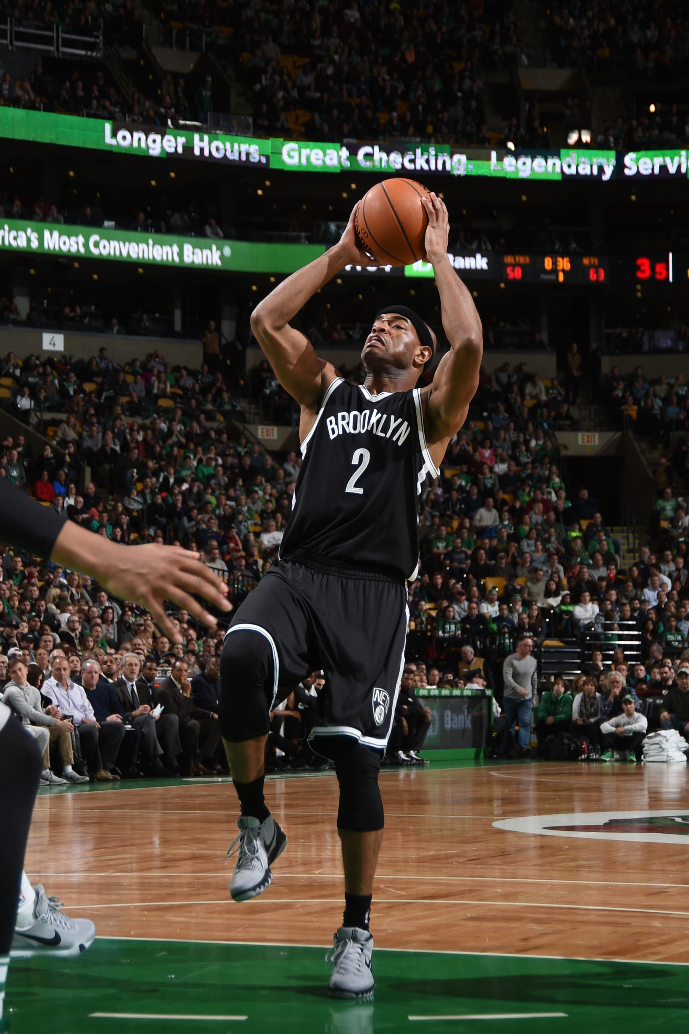 BOSTON, MA - JANUARY 2:  Jarrett Jack #2 of the Brooklyn Nets shoots the ball against the Boston Celtics on January 2, 2016 at the TD Garden in Boston, Massachusetts.  (Photo by Brian Babineau/NBAE via Getty Images)