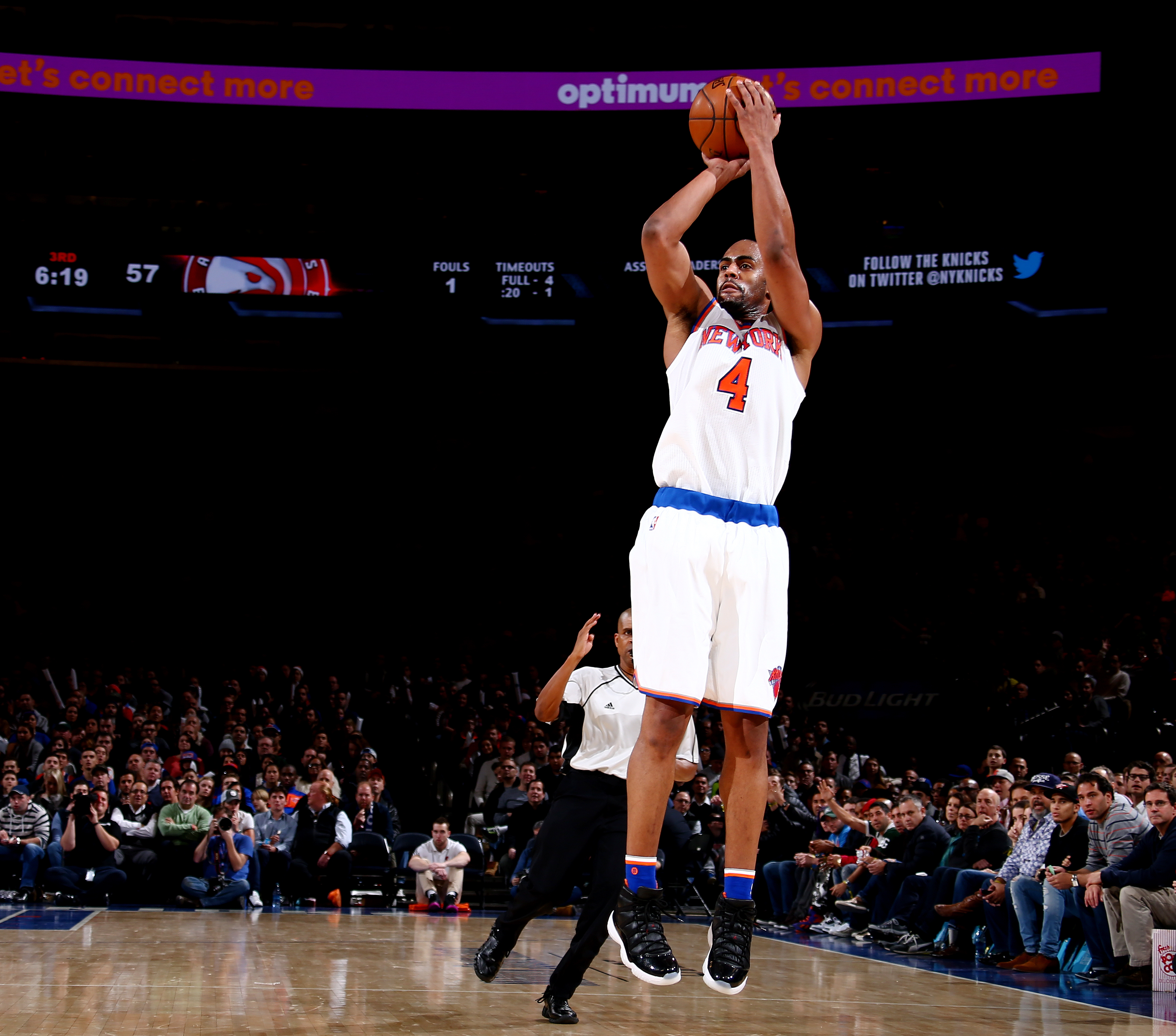 NEW YORK, NY - JANUARY 3: Arron Afflalo #4 of the New York Knicks shoots against the Atlanta Hawks during the game on January 3, 2016 at Madison Square Garden in New York, New York. (Photo by Nathaniel S. Butler/NBAE via Getty Images)