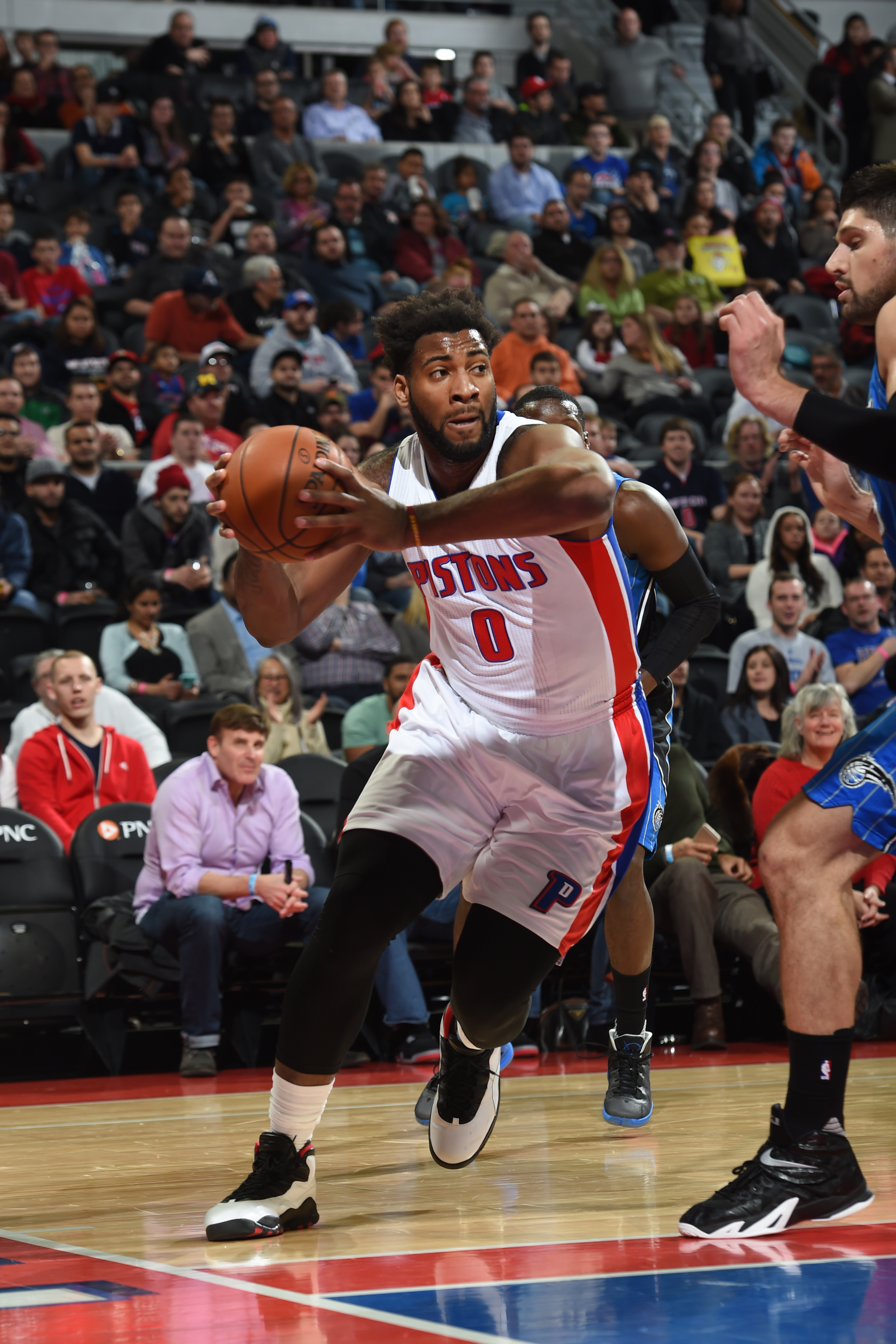 AUBURN HILLS, MI - JANUARY 4: Andre Drummond #0 of the Detroit Pistons drives to the basket against the Orlando Magic during the game on January 4, 2016 at The Palace of Auburns in Auburn Hills, Michigan. (Photo by Allen Einstein/NBAE via Getty Images)