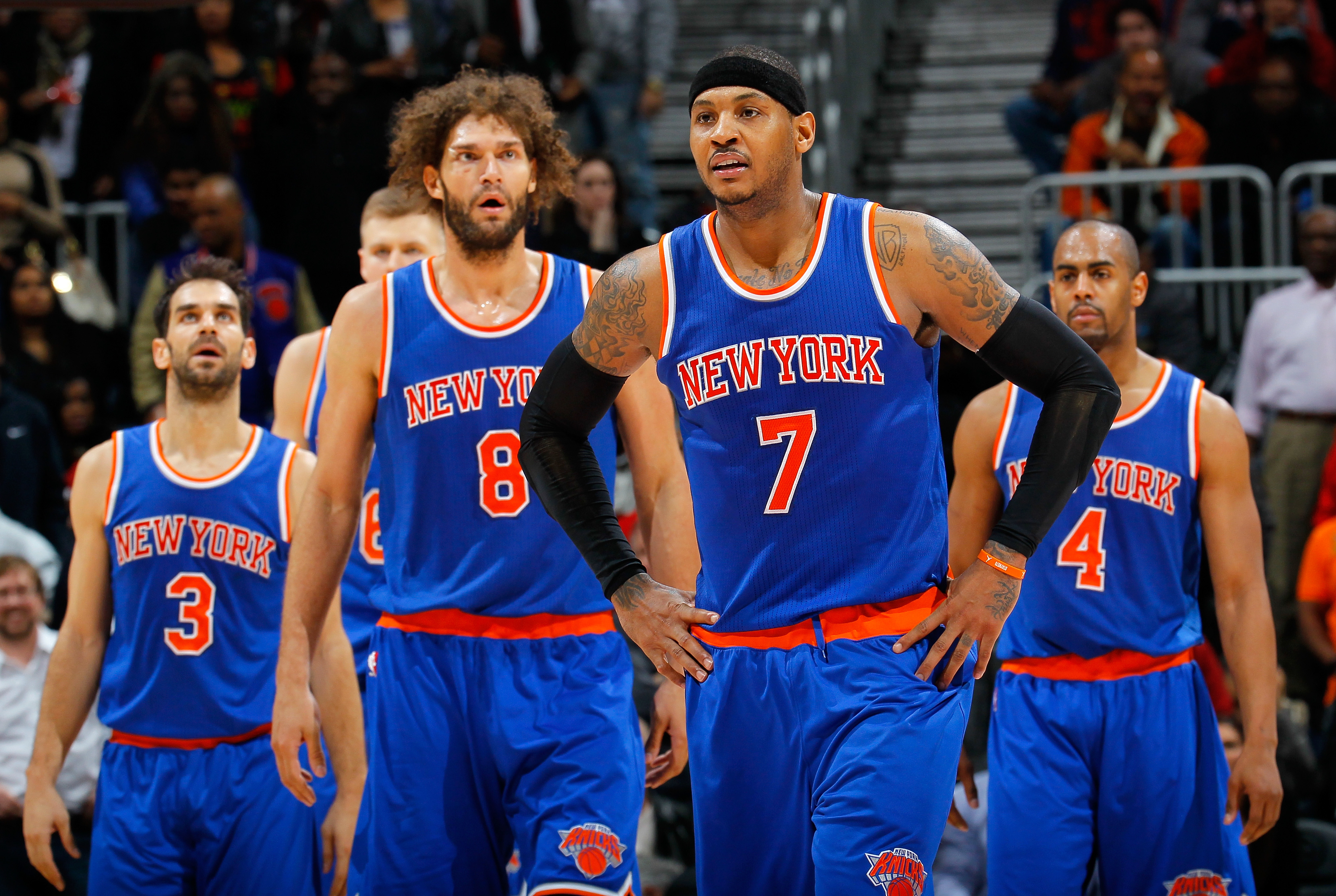 ATLANTA, GA - JANUARY 05:  Carmelo Anthony #7 of the New York Knicks reacts in the final seconds of their 107-101 win over the Atlanta Hawks at Philips Arena on January 5, 2016 in Atlanta, Georgia.  NOTE TO USER User expressly acknowledges and agrees that