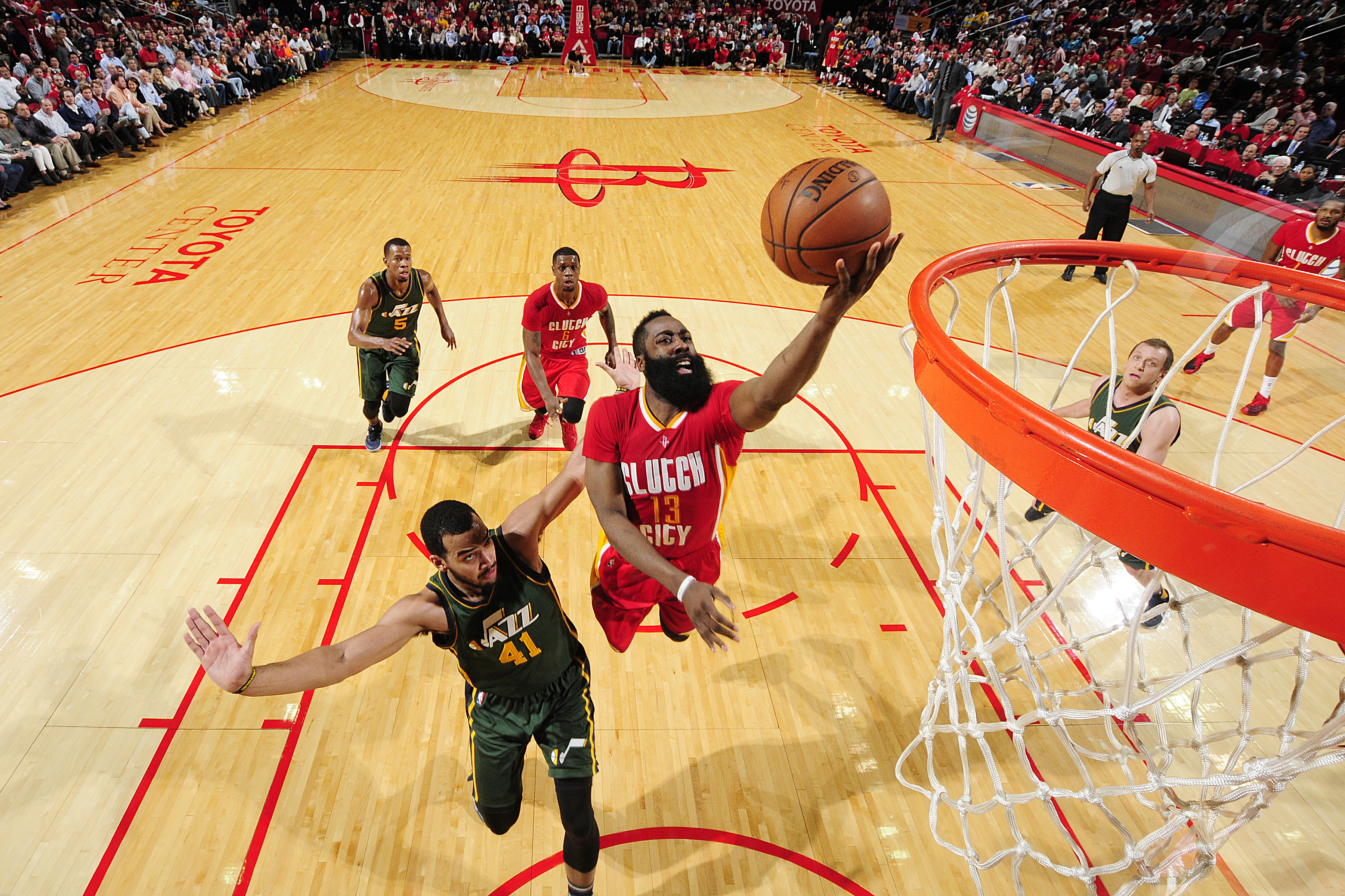 HOUSTON, TX - JANUARY 7:  James Harden #13 of the Houston Rockets shoots the ball against the Utah Jazz on January 7, 2016 at the Toyota Center in Houston, Texas. (Photo by Bill Baptist/NBAE via Getty Images)