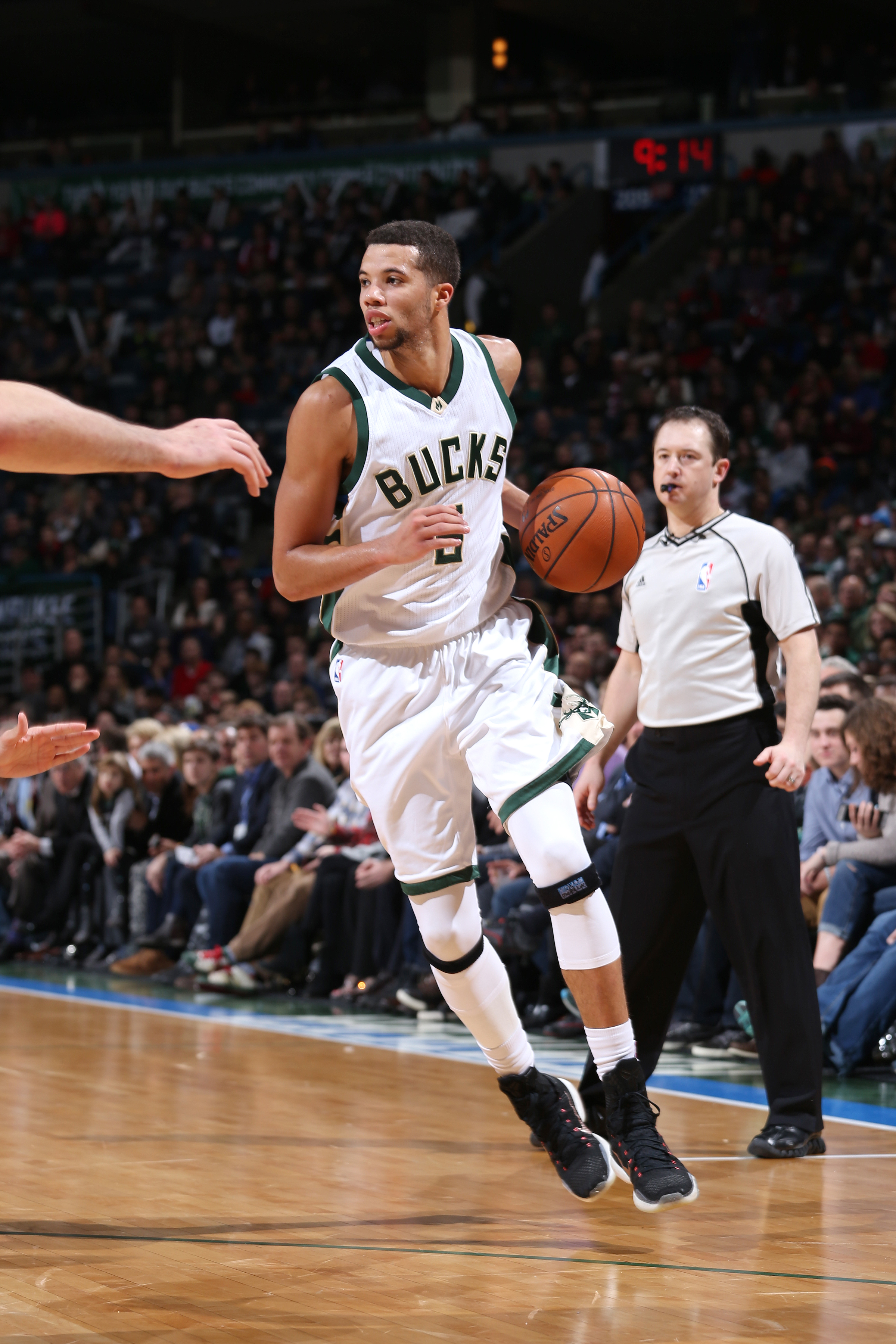 Milwaukee, WI - JANUARY 8: Michael Carter-Williams #5 of the Milwaukee Bucks handles the ball during the game against the Dallas Mavericks on January 8, 2016 at the BMO Harris Bradley Center in Milwaukee, Wisconsin. (Photo by Gary Dineen/NBAE via Getty Im